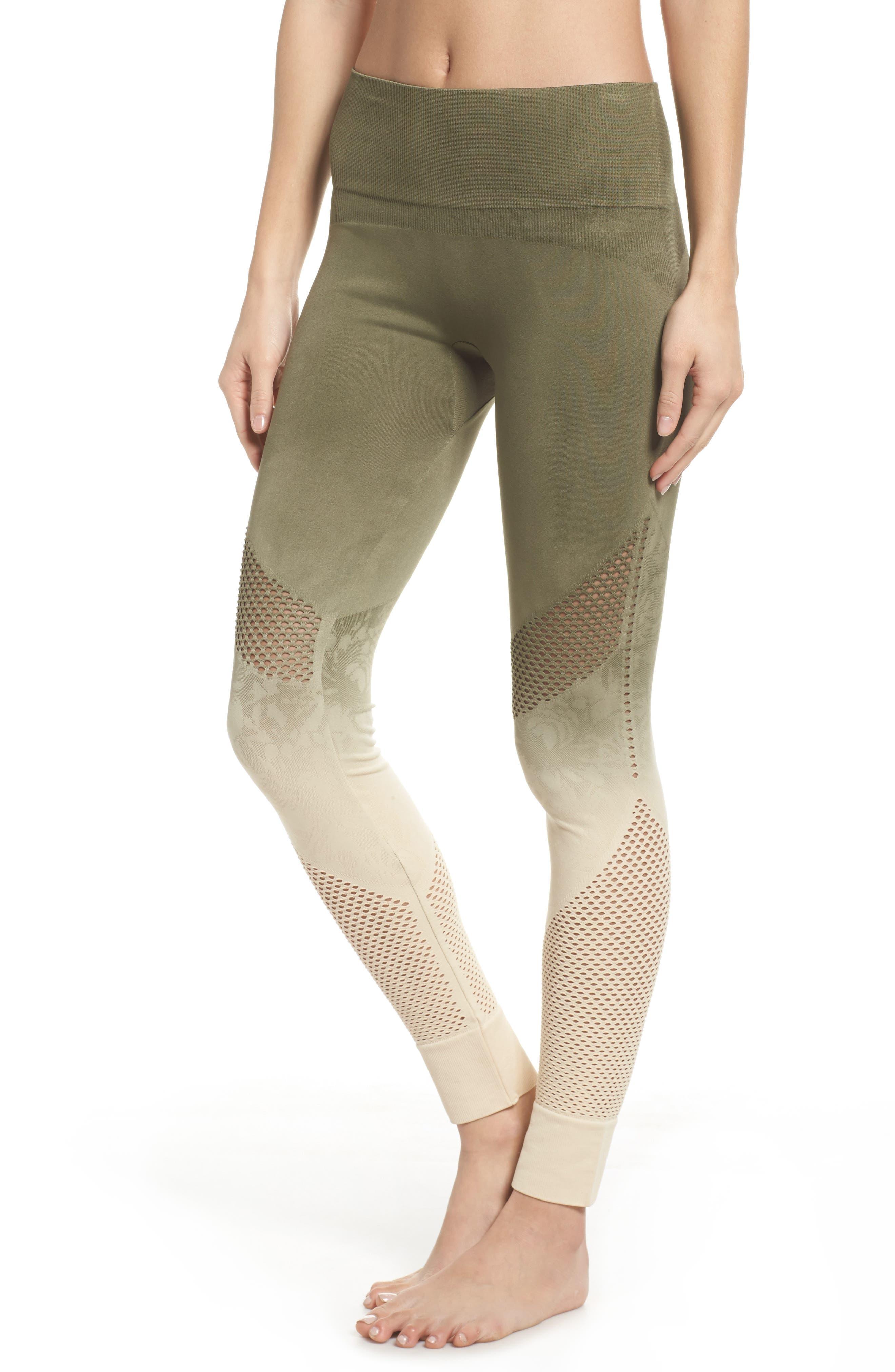 Formation High Waist Leggings,                         Main,                         color, Tapioca W/ Deep Lichen Green