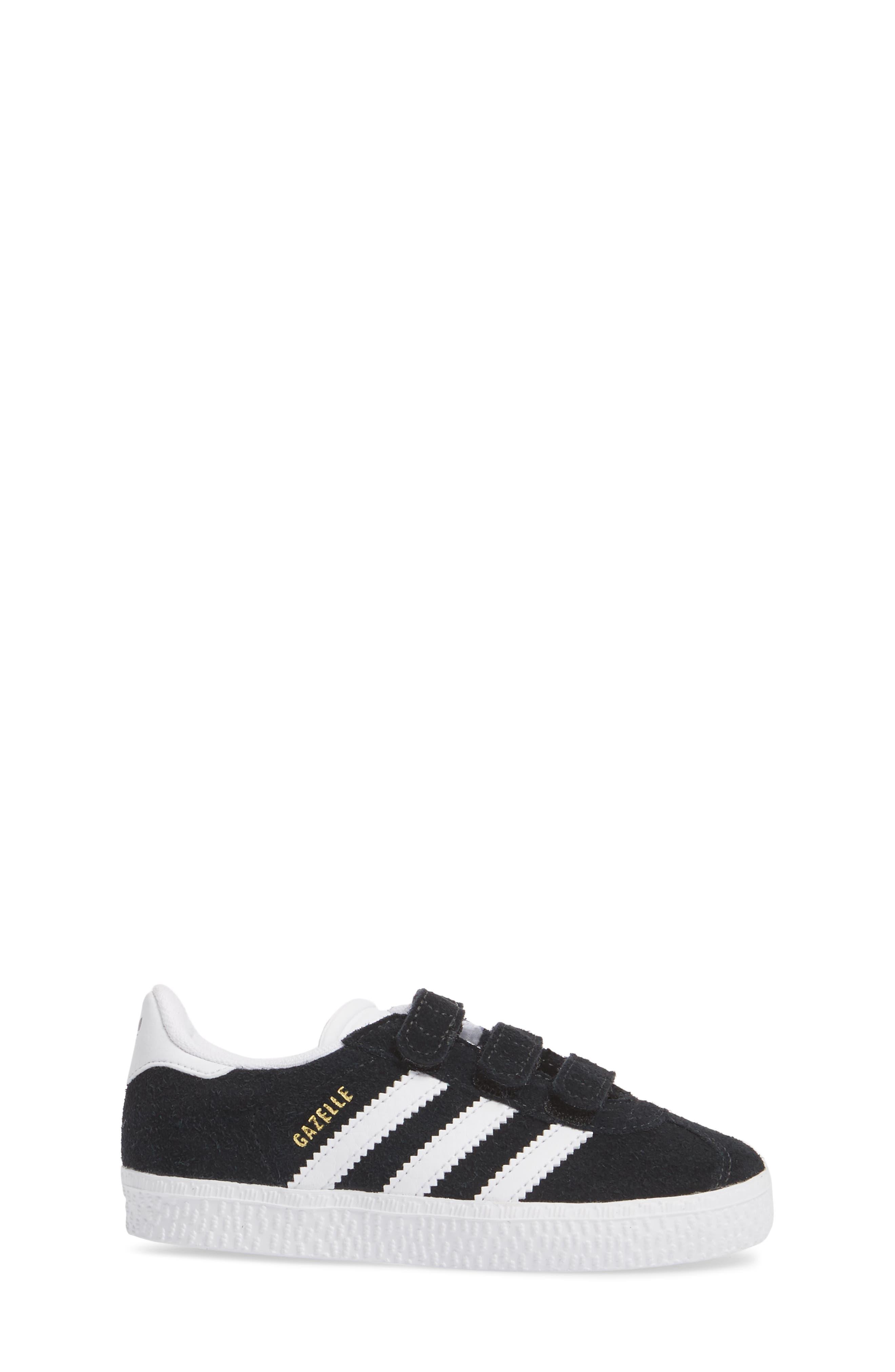 Gazelle Sneaker,                             Alternate thumbnail 4, color,                             Core Black / White / White