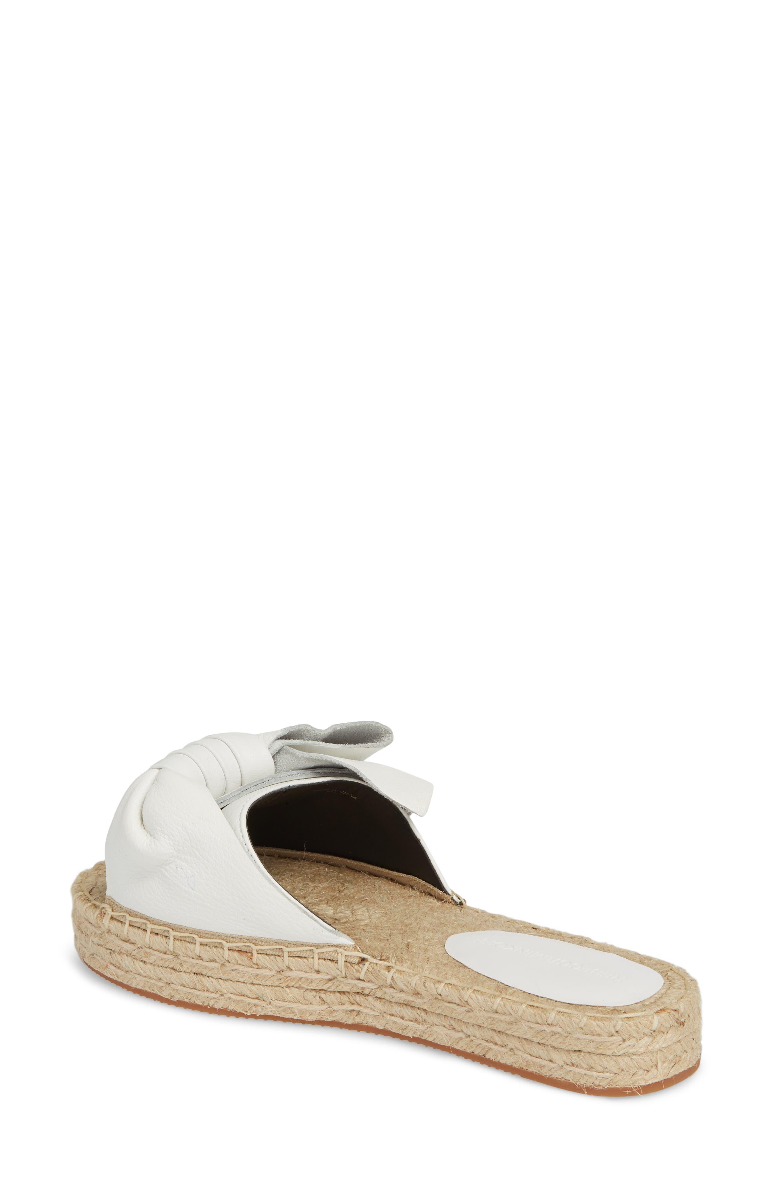 Giana Bow Slide Sandal,                             Alternate thumbnail 2, color,                             Optic White Leather