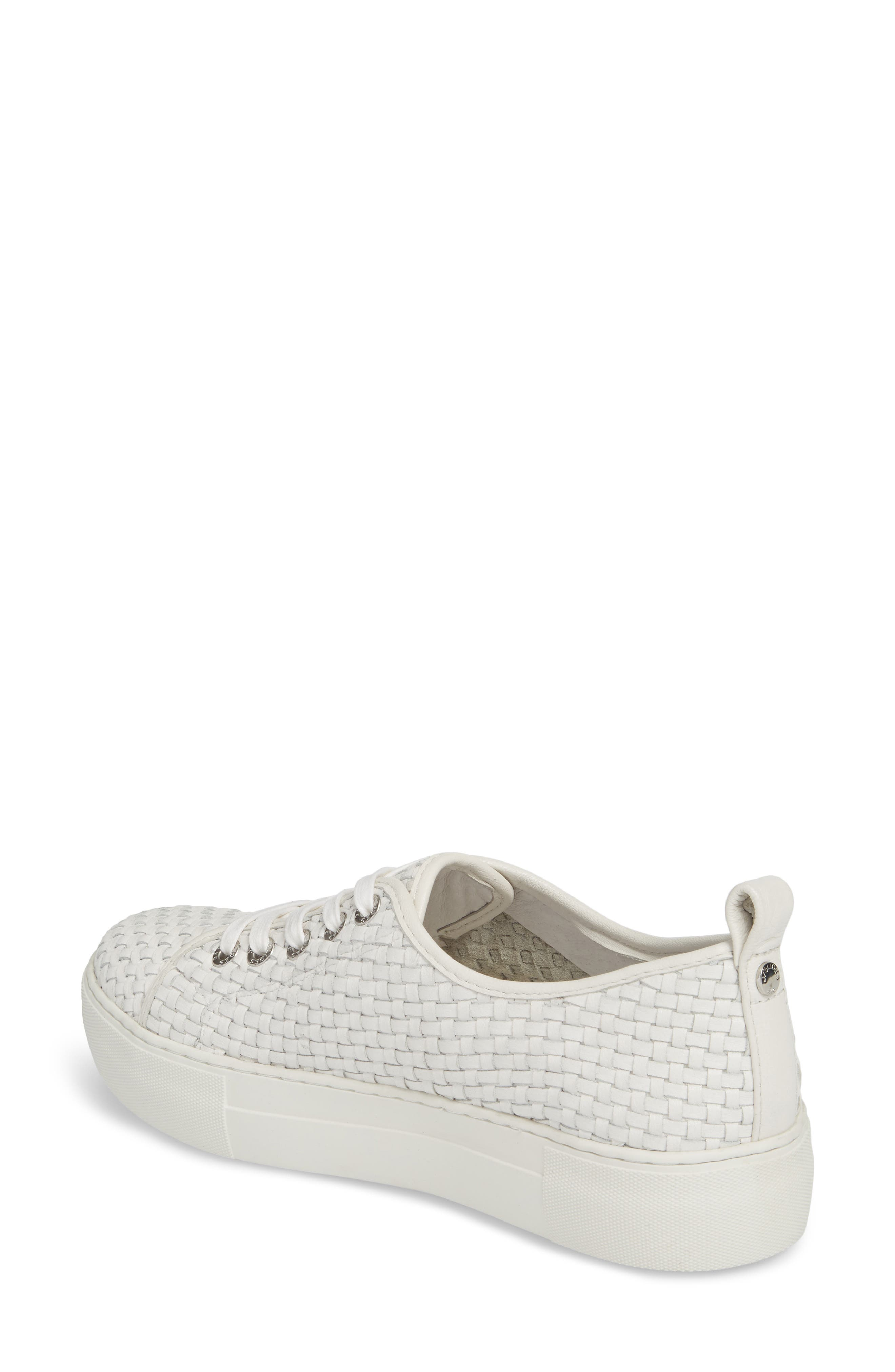 Artsy Woven Platform Sneaker,                             Alternate thumbnail 2, color,                             White Leather