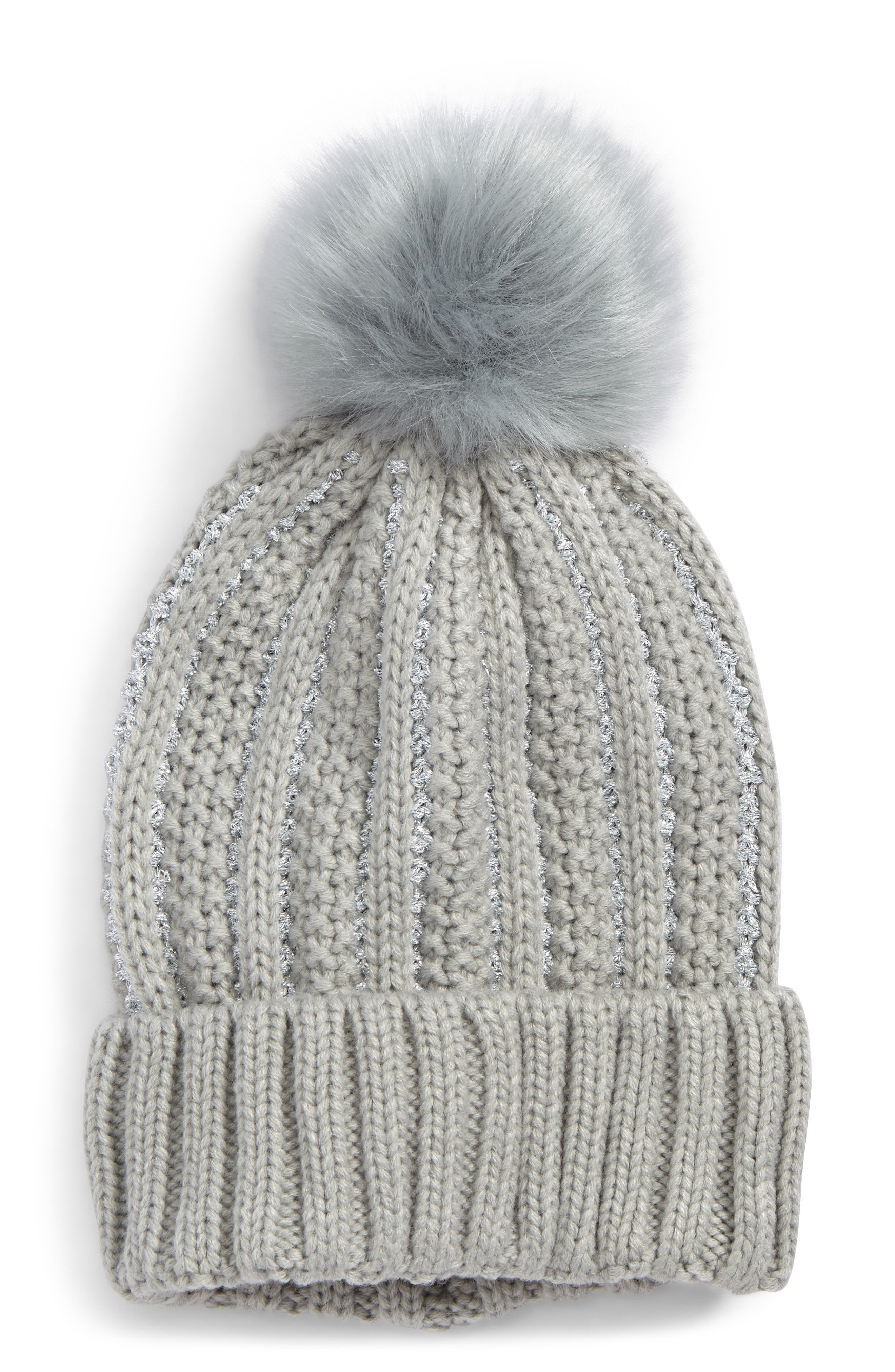 Metallic Knit Beanie with Faux Fur Pompom,                             Main thumbnail 1, color,                             Grey