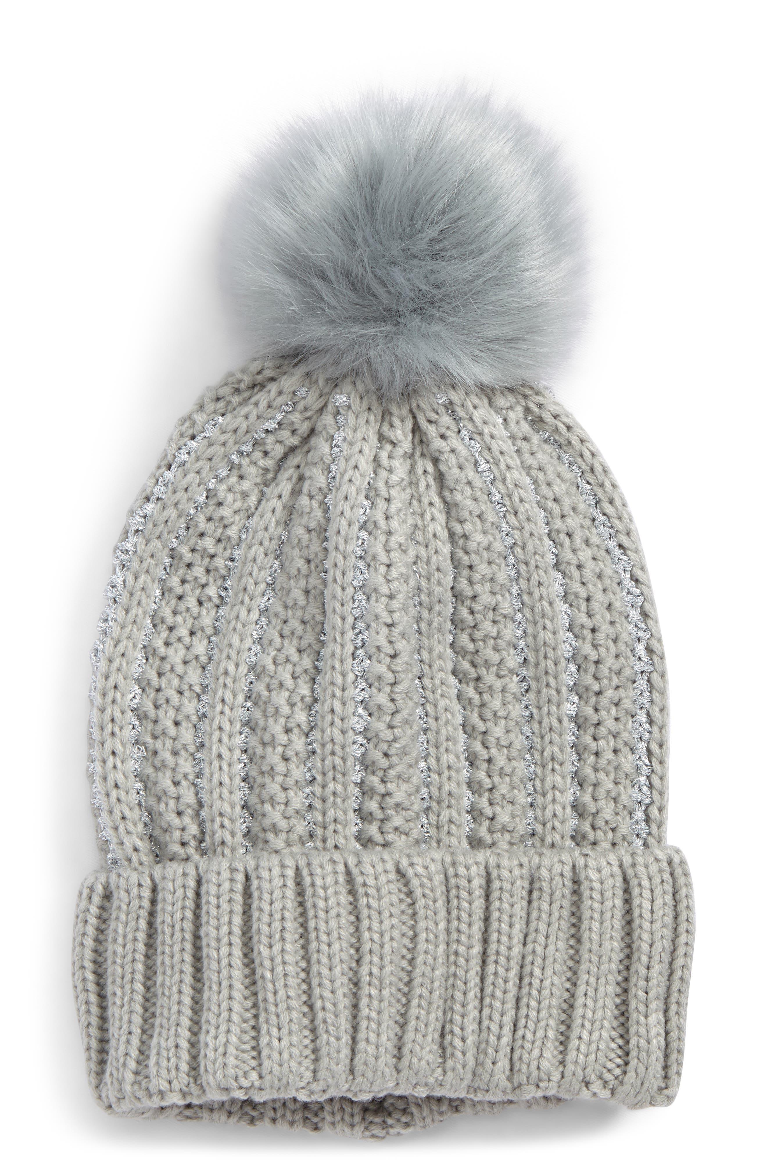 Metallic Knit Beanie with Faux Fur Pompom,                         Main,                         color, Grey