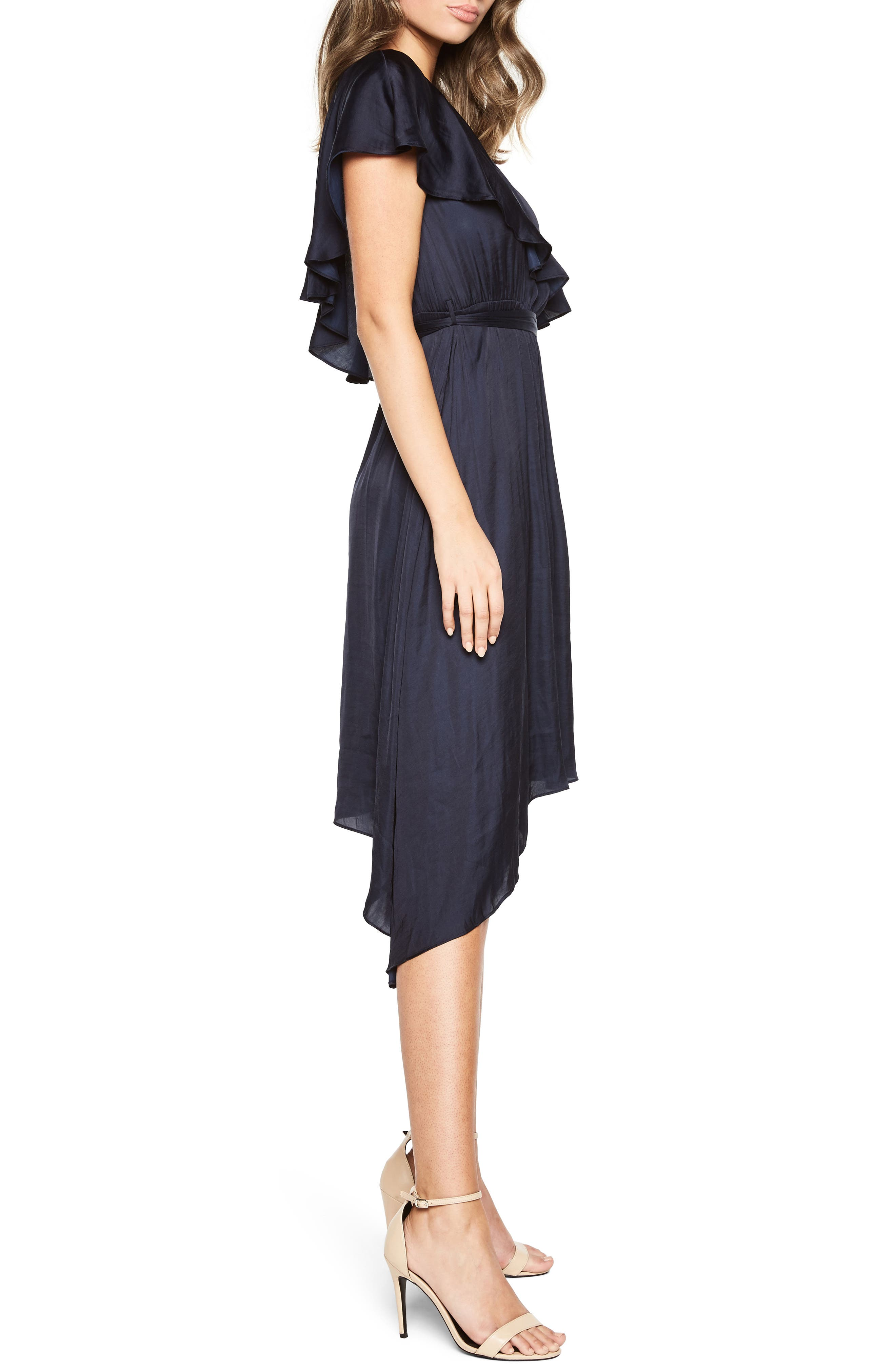 Waterfall One-Shoulder Dress,                             Alternate thumbnail 3, color,                             Navy