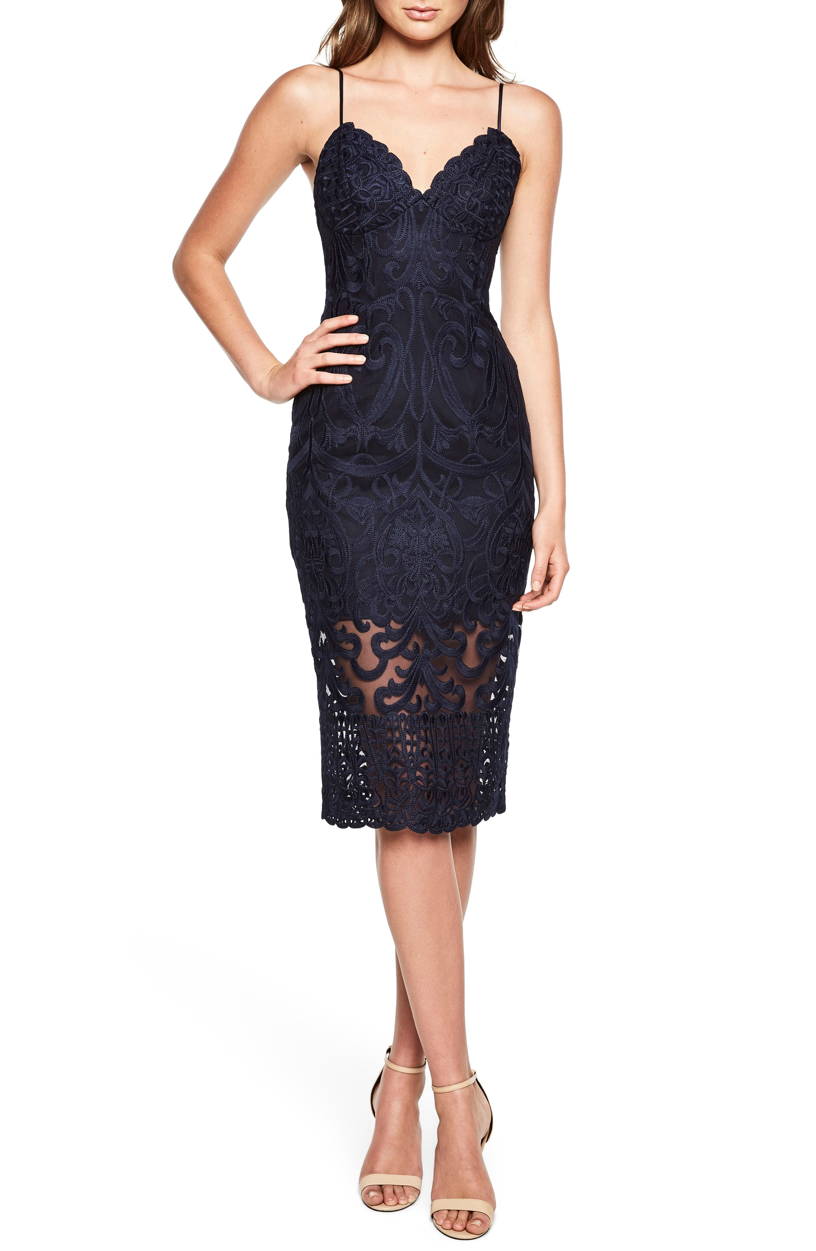 Gia Lace Pencil Dress,                             Main thumbnail 1, color,                             Navy