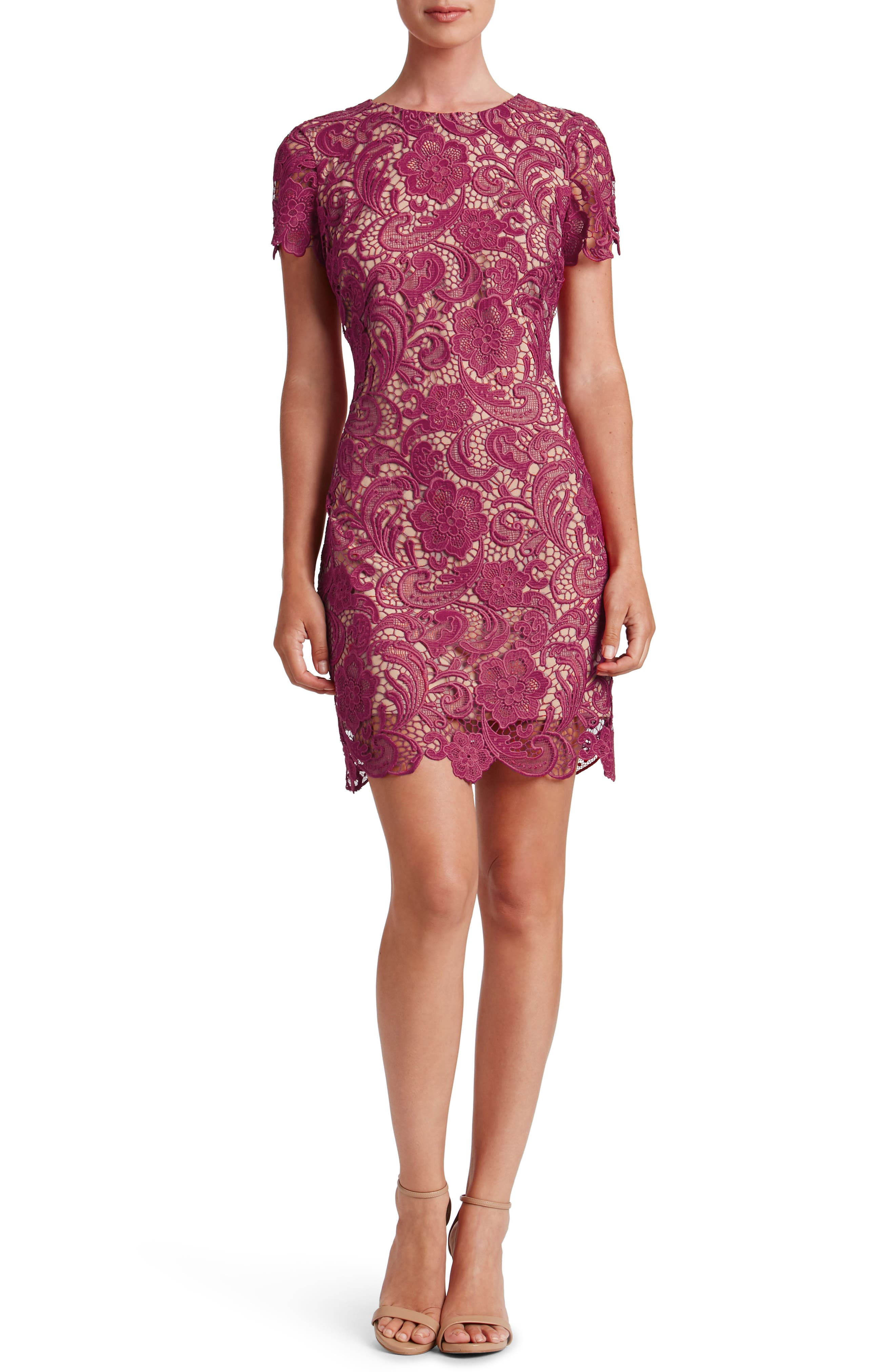 Anna Crochet Lace Sheath Dress,                         Main,                         color, Mulberry/ Nude