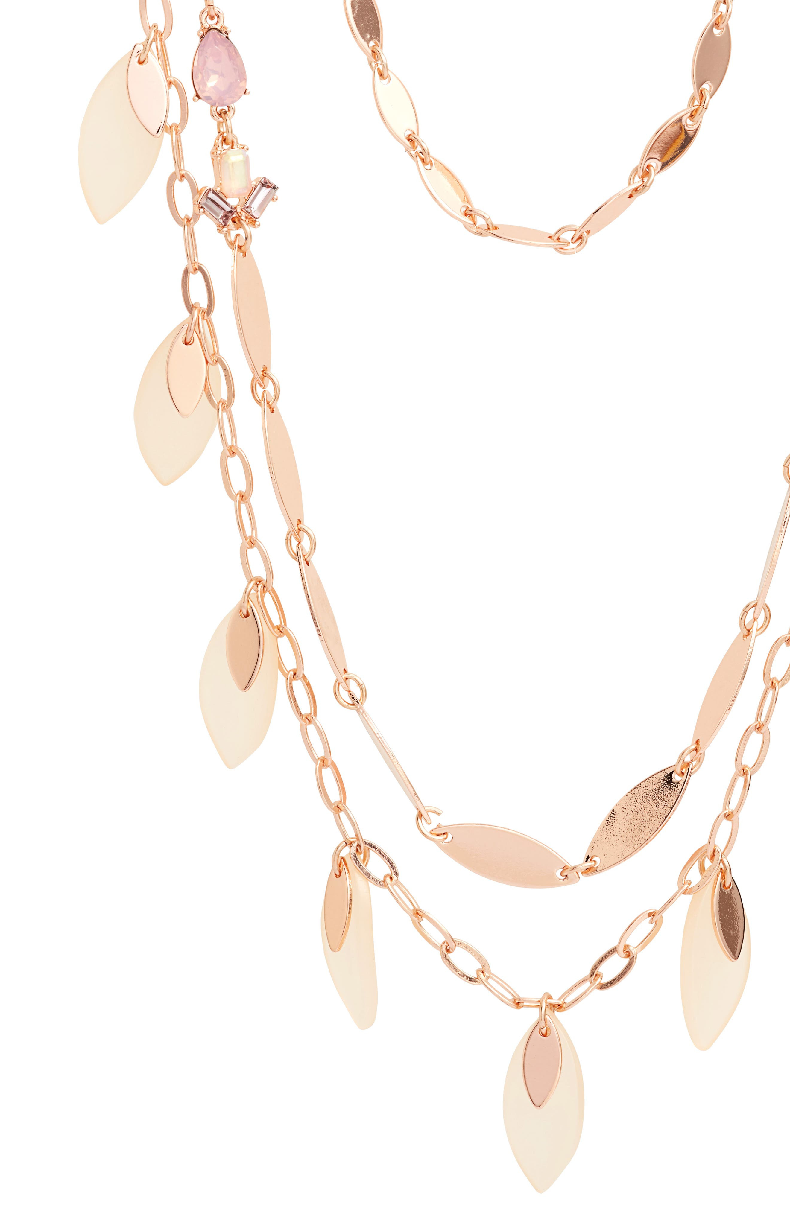Layered Jewel & Petal Necklace,                             Alternate thumbnail 2, color,                             Pink Multi- Rose Gold