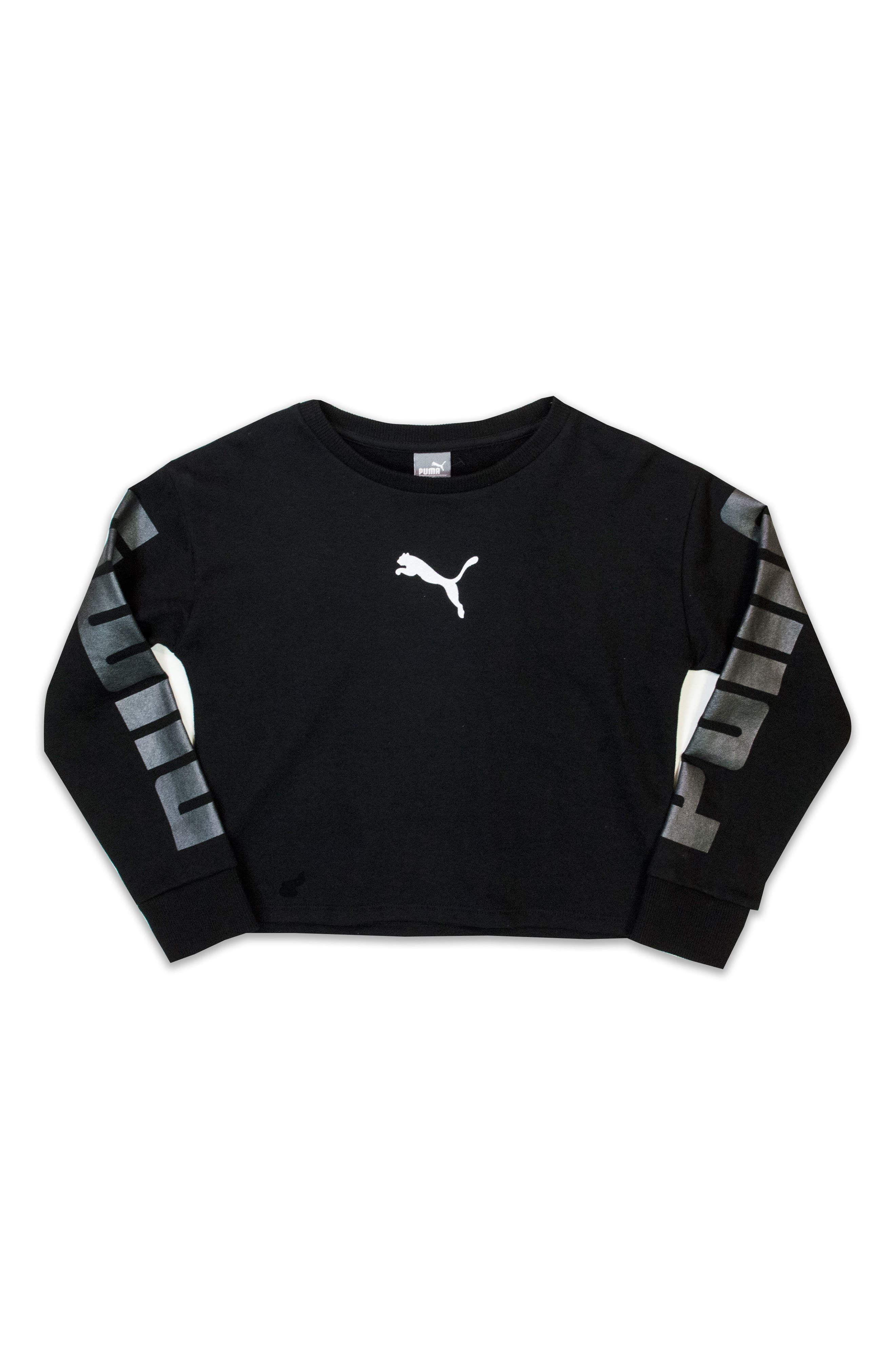 French Terry Sweatshirt,                         Main,                         color, Puma Black