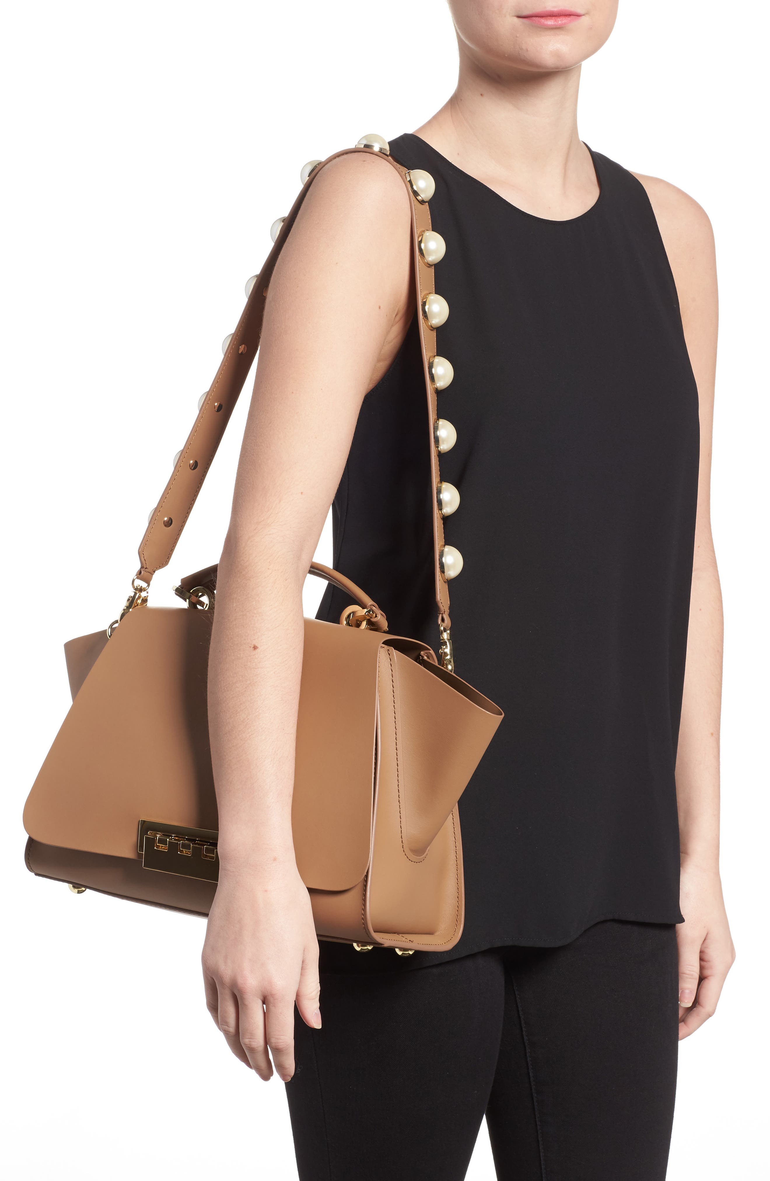 Eartha Iconic Leather Top Handle Satchel,                             Alternate thumbnail 2, color,                             Nude