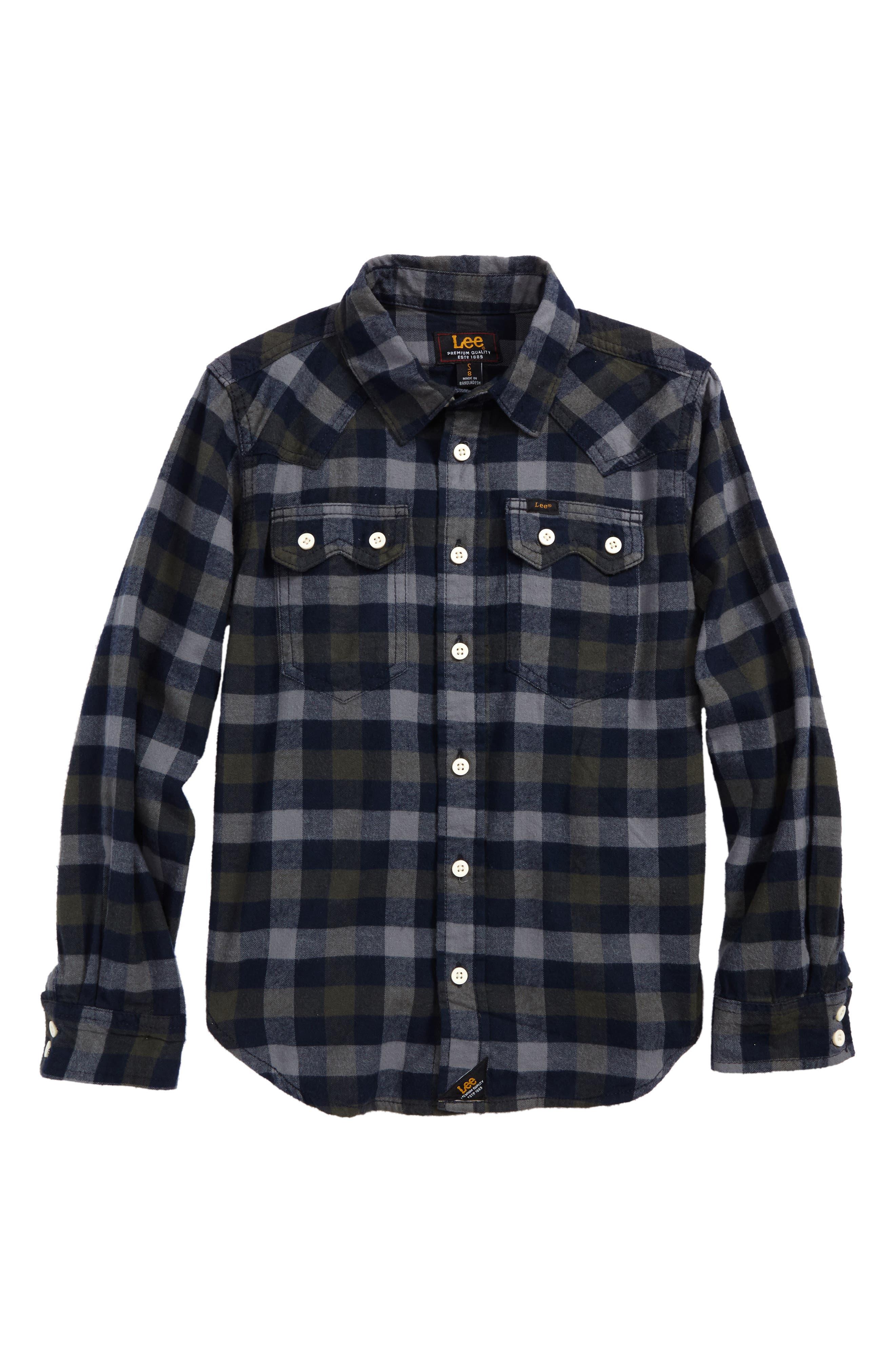 Plaid Woven Shirt,                         Main,                         color, Grove Green