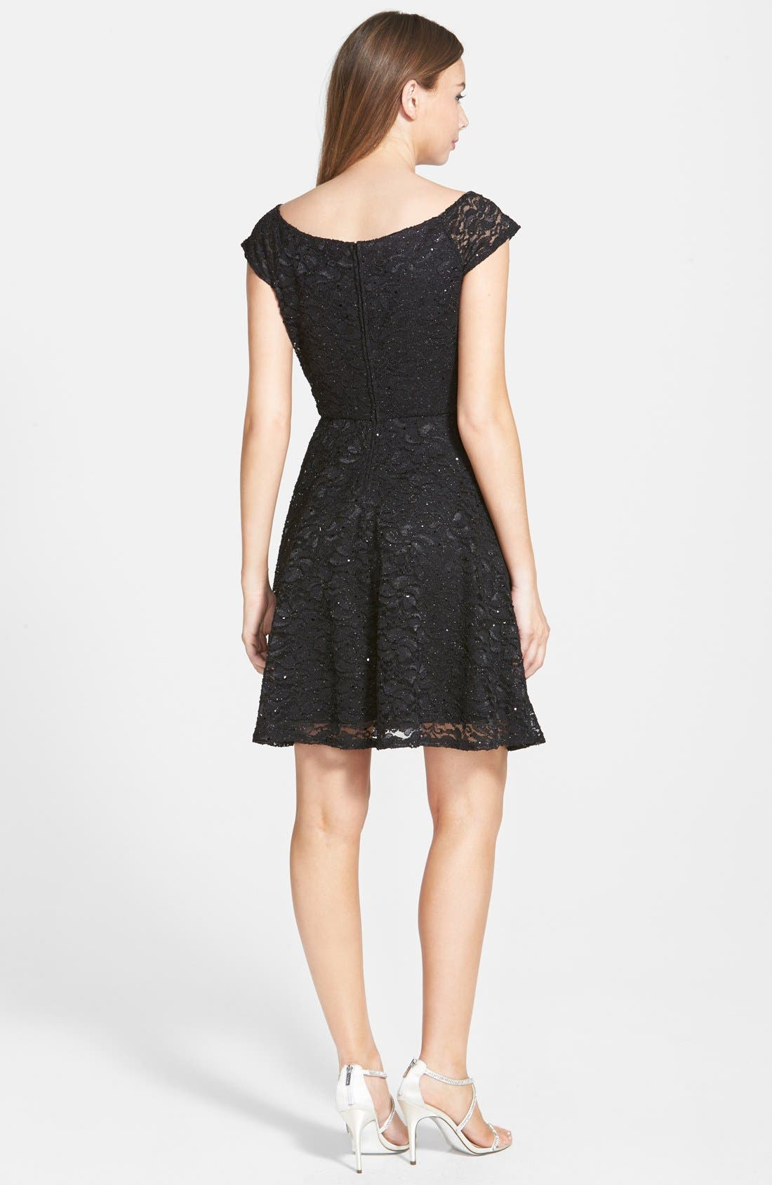 Alternate Image 2  - Jump Apparel Glitter Lace Cap Sleeve Skater Dress