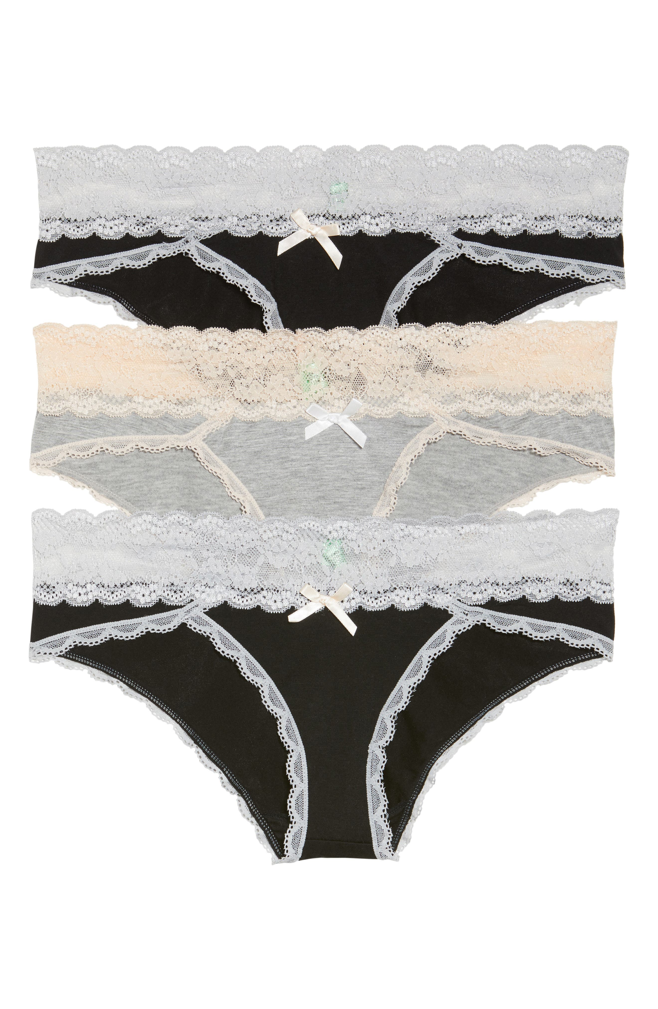 3-Pack Hipster Panties,                             Main thumbnail 1, color,                             Black/ Heather Grey/ Black