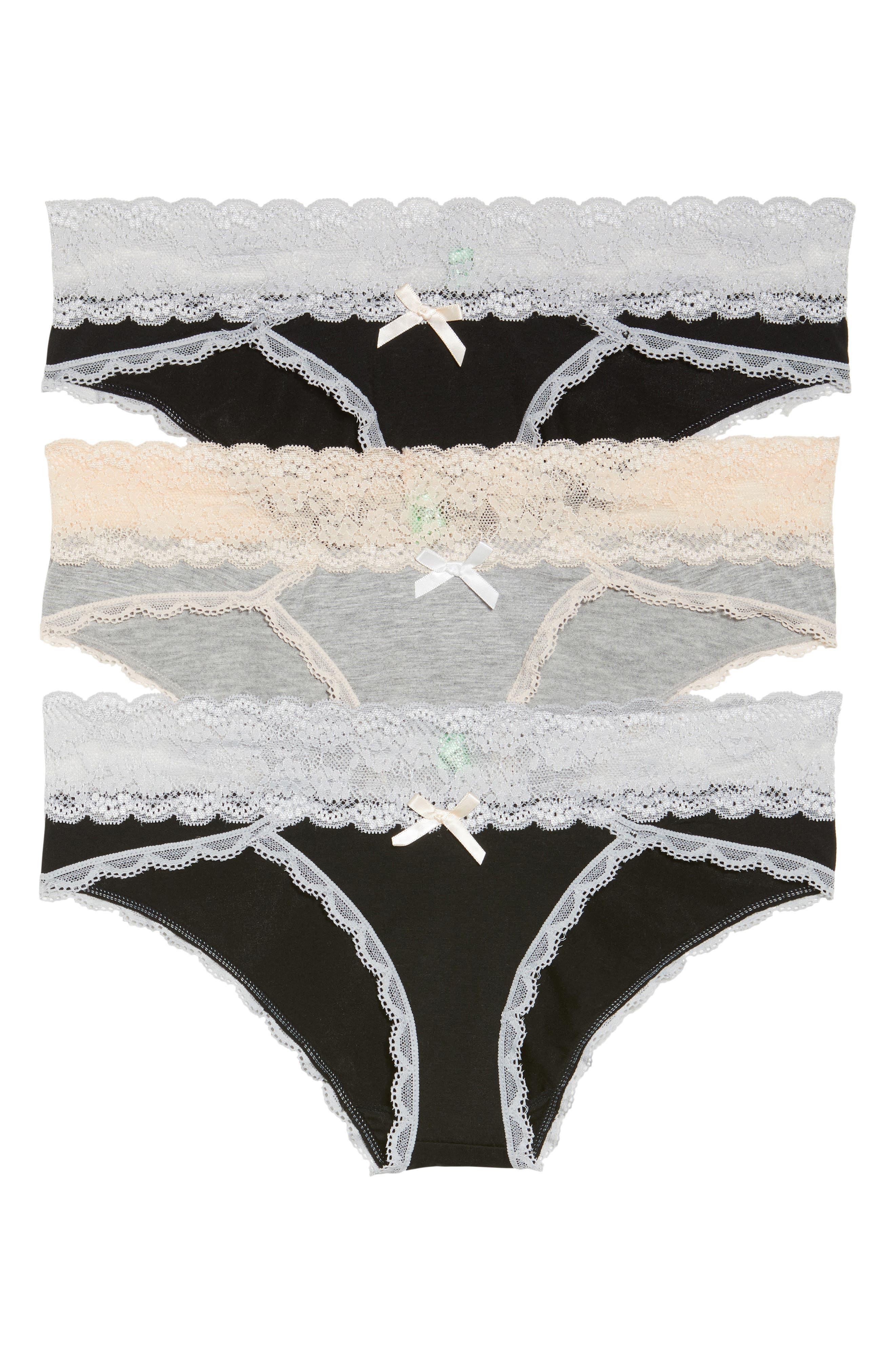3-Pack Hipster Panties,                         Main,                         color, Black/ Heather Grey/ Black