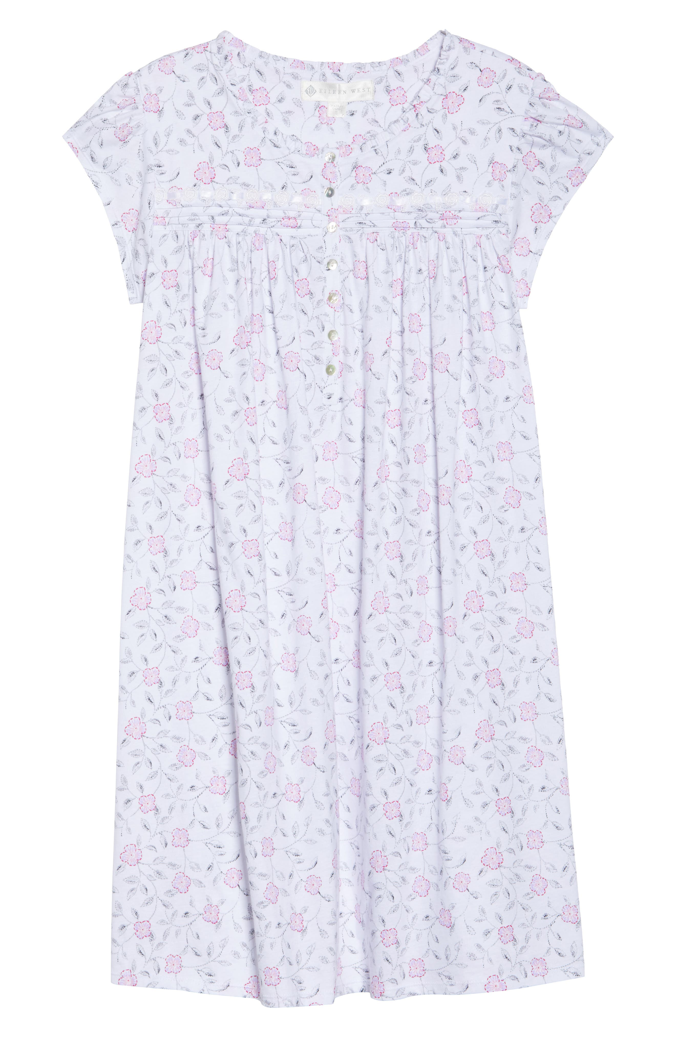Cotton Jersey Nightgown,                             Alternate thumbnail 4, color,                             White Floral Scroll