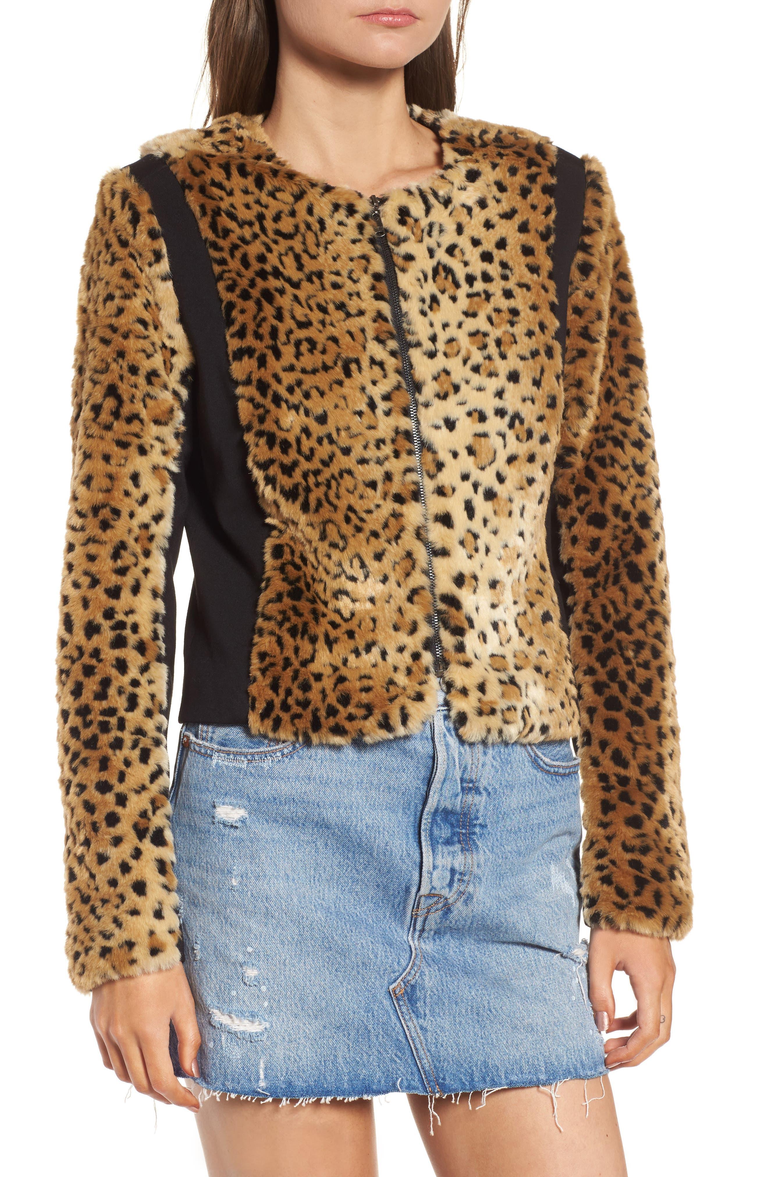Faux Fur Leopard Jacket,                             Alternate thumbnail 2, color,                             Beige/ Black