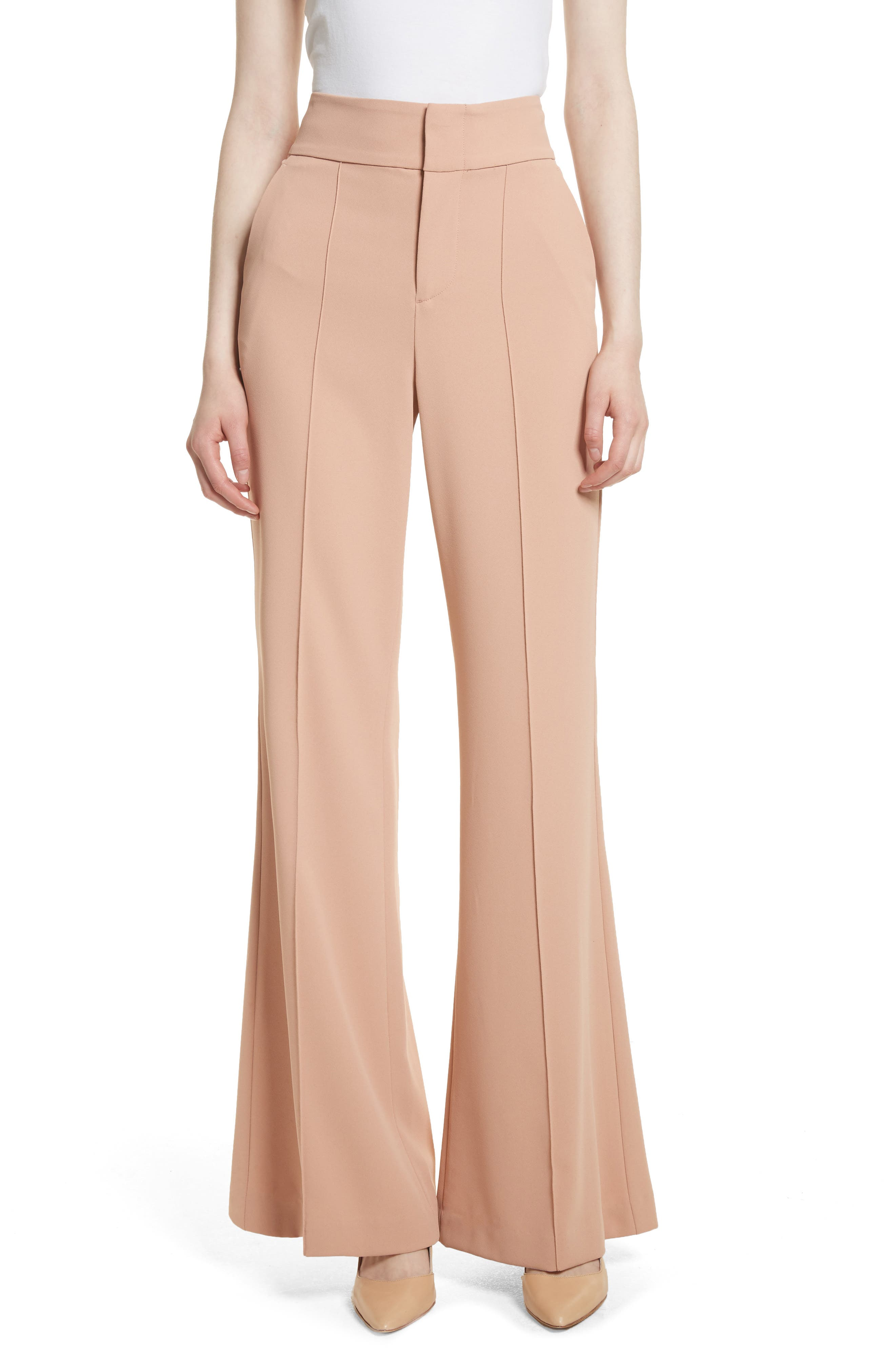 Alternate Image 1 Selected - Alice + Olivia Dawn High Waist Front Pintuck Flared Pants