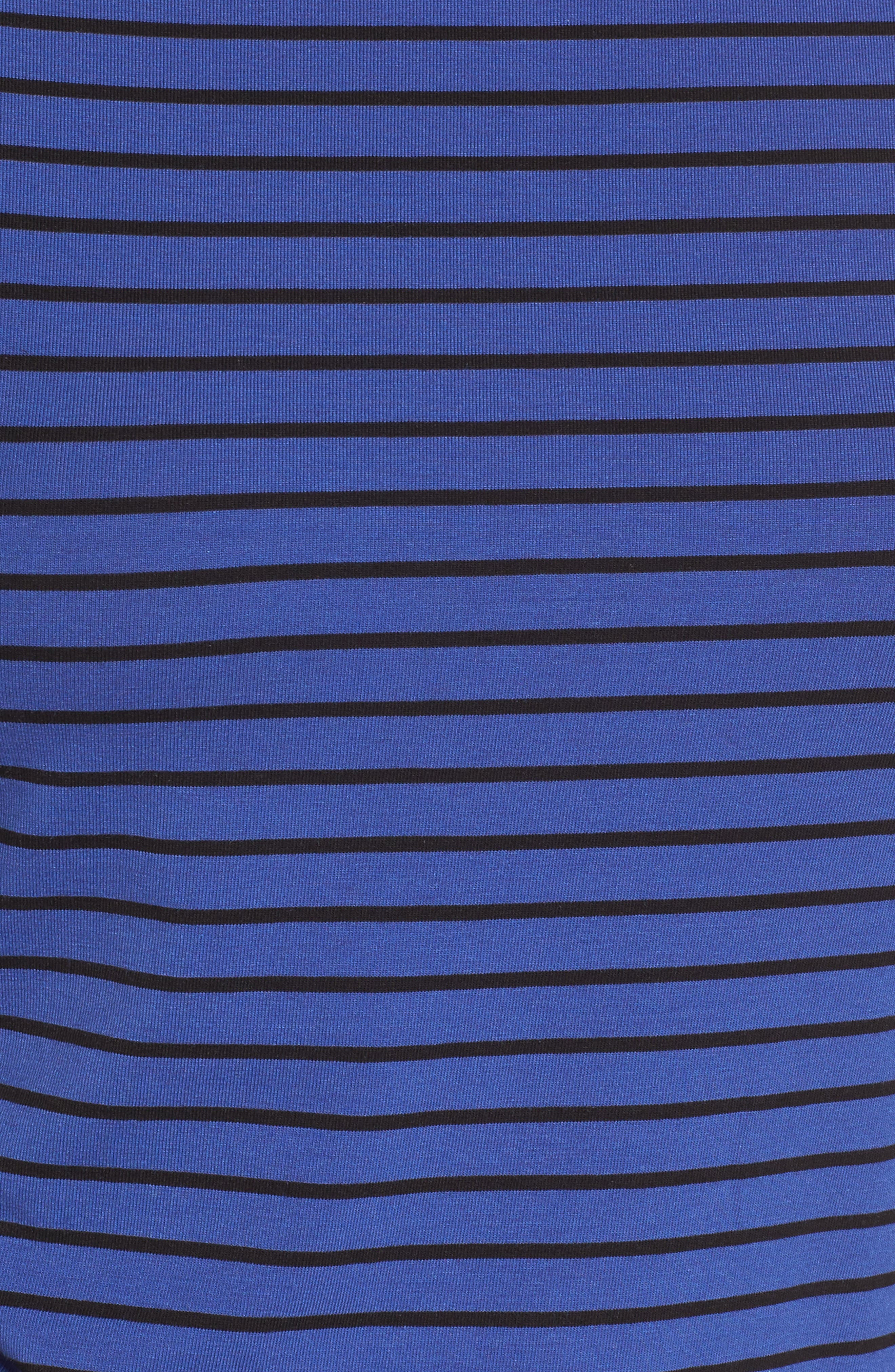 Stripe Knit Boatneck Top,                             Alternate thumbnail 5, color,                             Okeeffe Blue/ Black