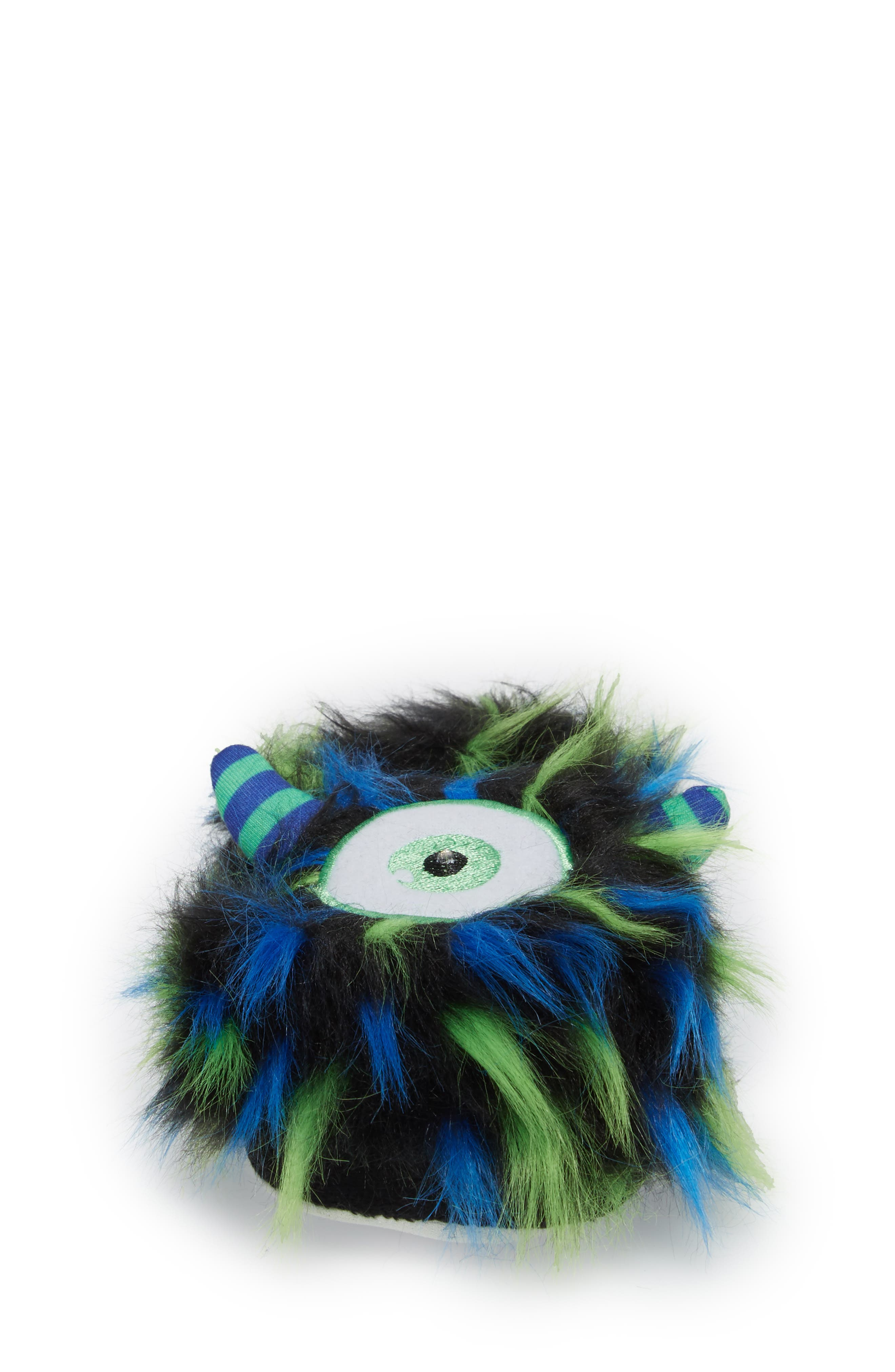 Cyclops Faux Fur Light-Up Eye Slipper,                             Alternate thumbnail 4, color,                             Blue
