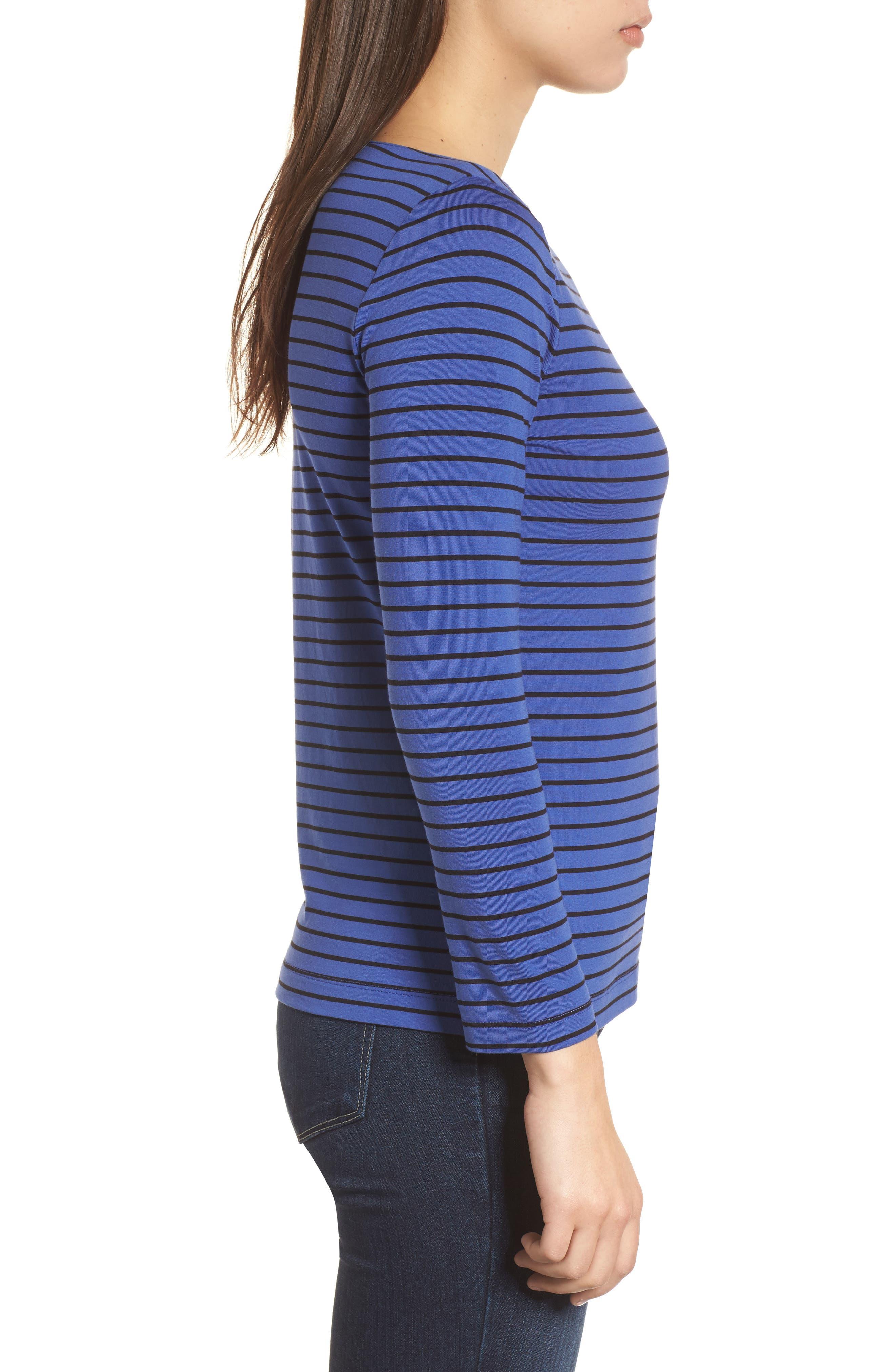 Stripe Knit Boatneck Top,                             Alternate thumbnail 3, color,                             Okeeffe Blue/ Black