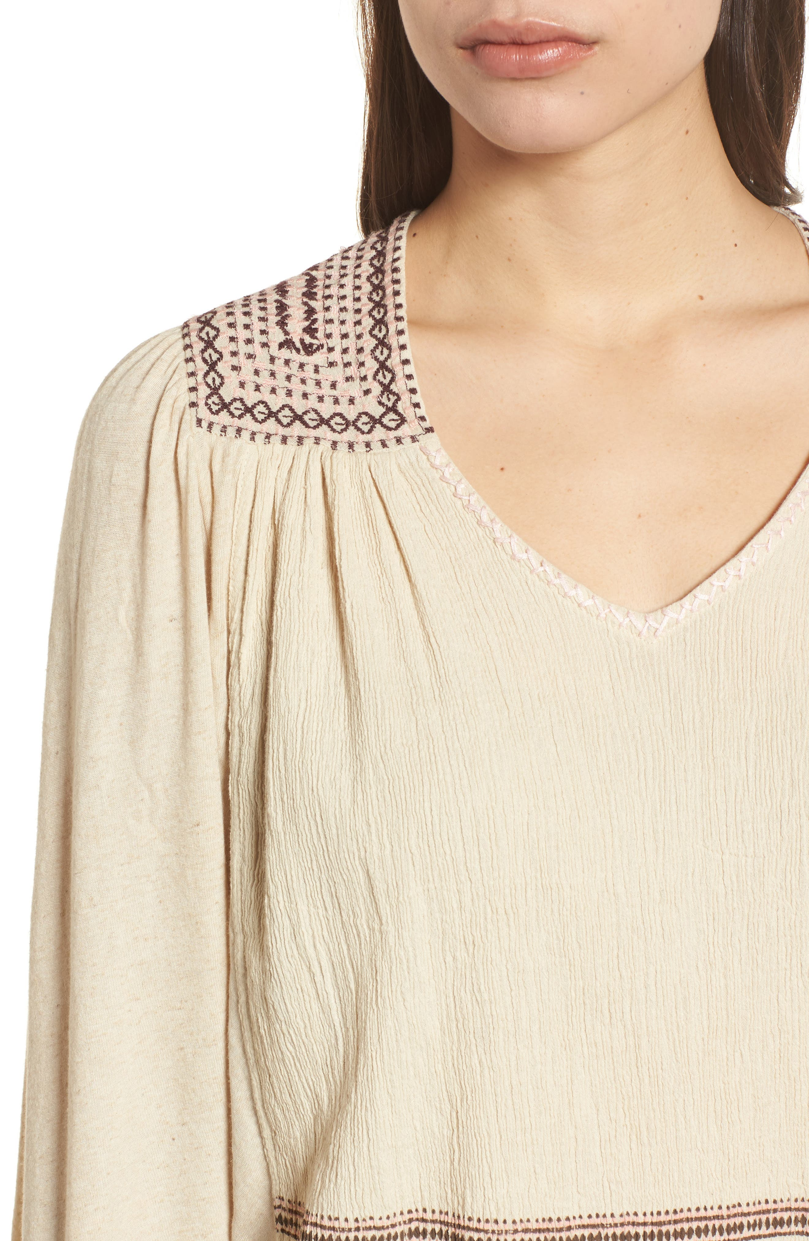 Market Embroidered Peasant Blouse,                             Alternate thumbnail 4, color,                             Natural
