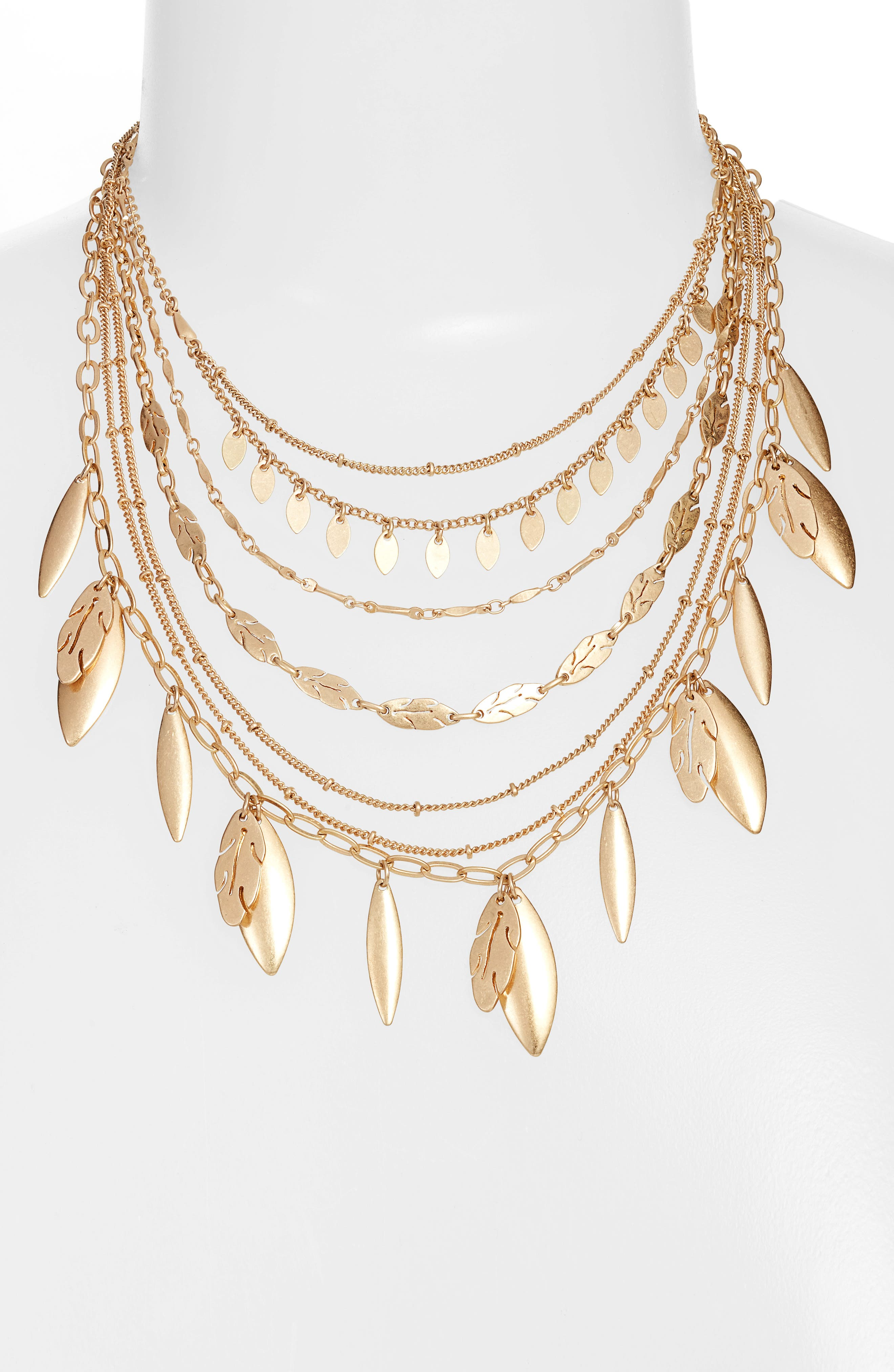 7-Layer Multichain Leaf Necklace,                         Main,                         color, Gold