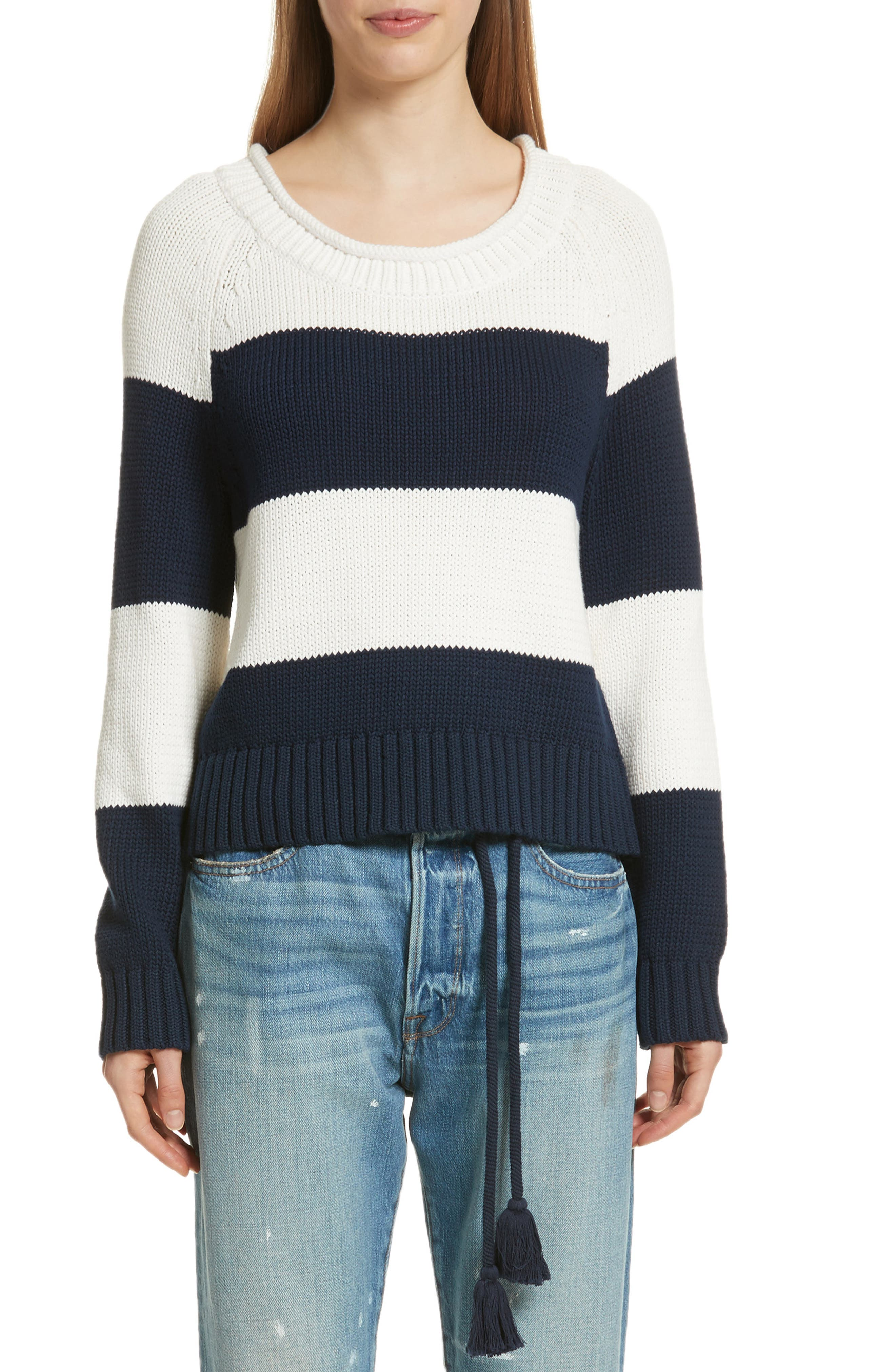 Stripe Cotton Blend Sweater,                             Main thumbnail 1, color,                             Off White/ Navy Stripe
