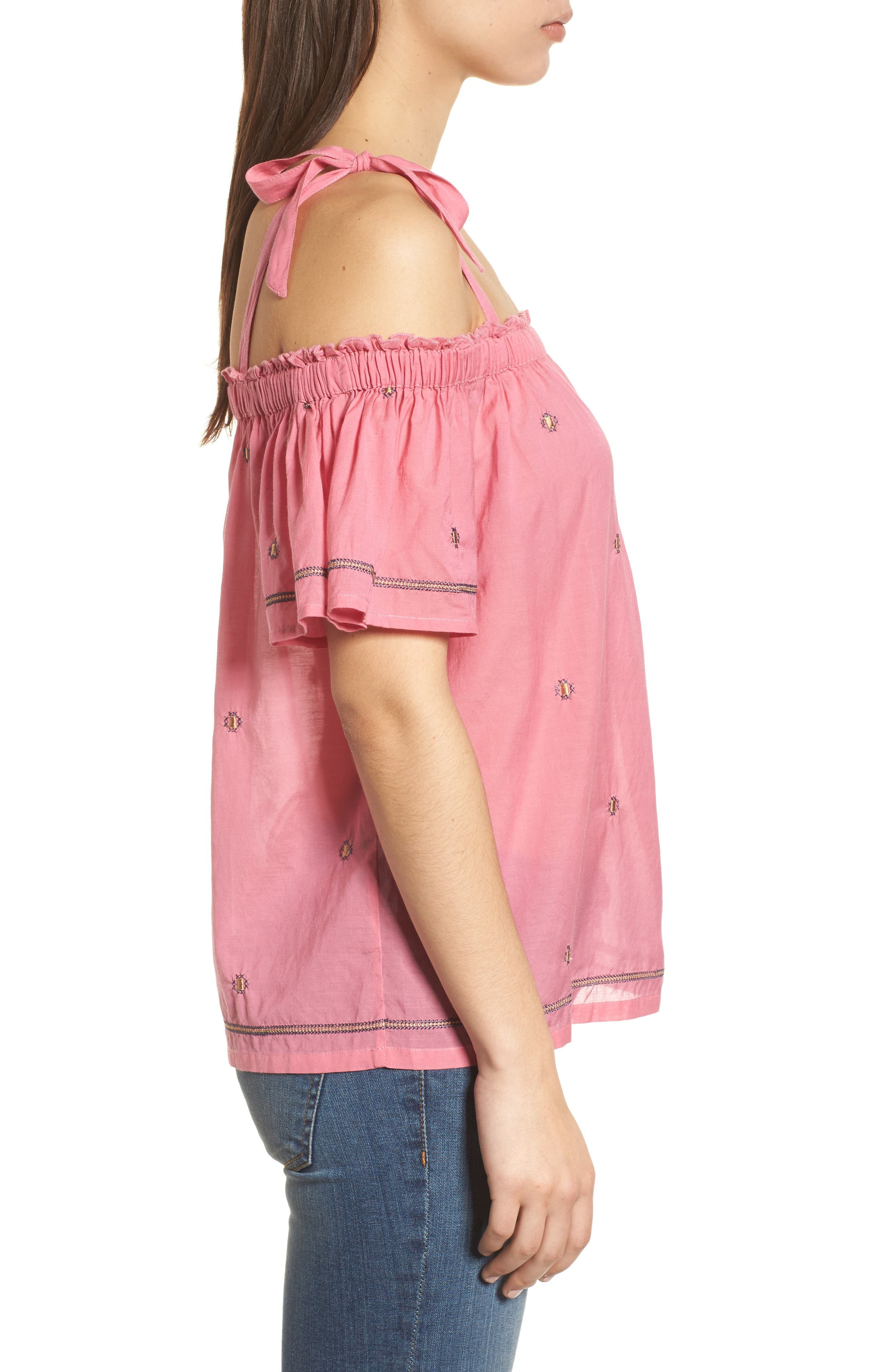 Embroidered Off the Shoulder Top,                             Alternate thumbnail 3, color,                             Flamingo Pink