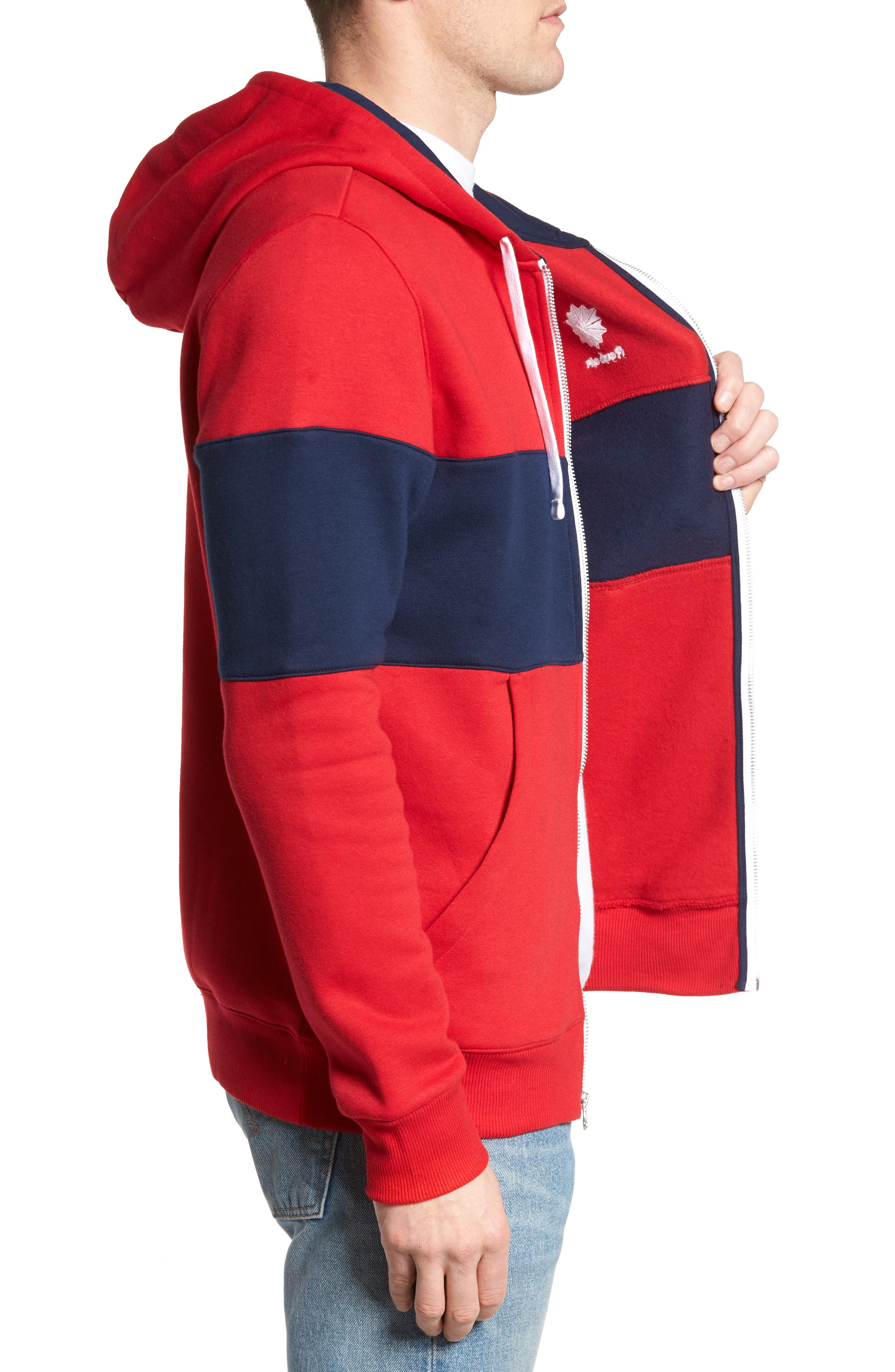 Classics Foundation Clockblock Zip Hoodie,                             Alternate thumbnail 3, color,                             Excellent Red/ Collegiate Navy