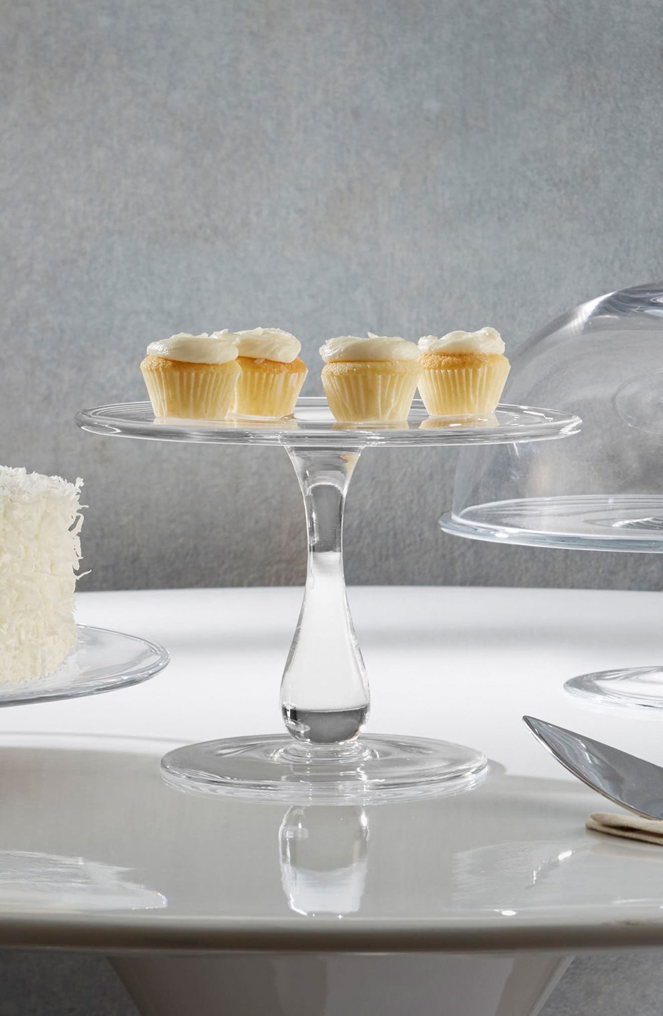 Moderne Cake Plate,                             Alternate thumbnail 3, color,                             Clear