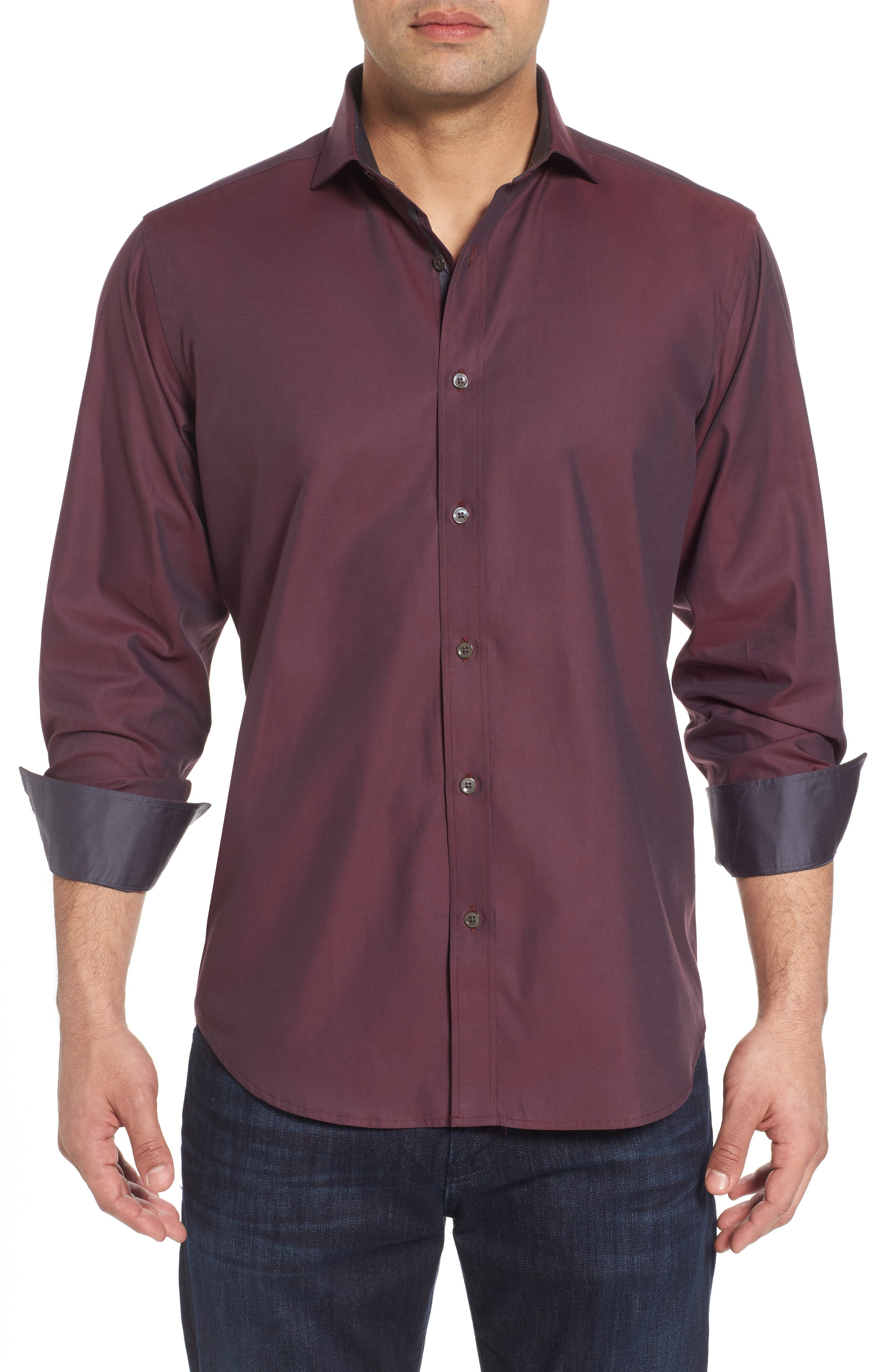 Classic Fit Solid Mercerized Cotton Sport Shirt,                         Main,                         color, Plum