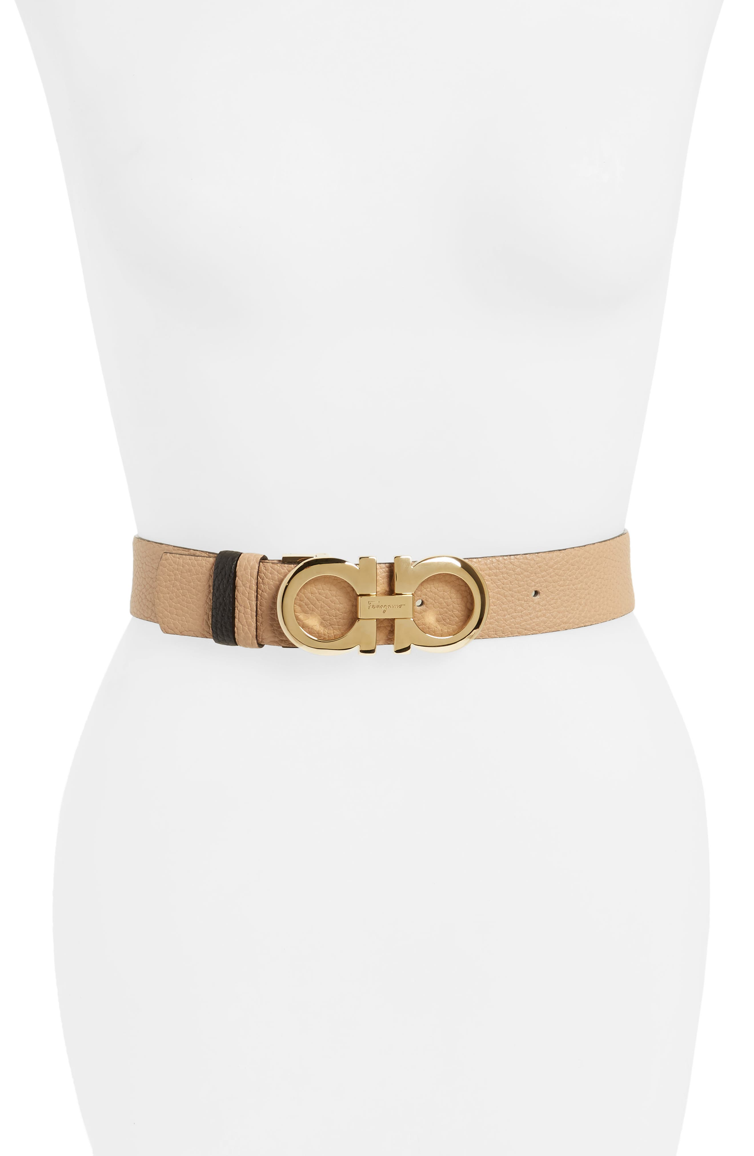 Salvatore Ferragamo Reversible Double Gancio Calfskin Leather Belt