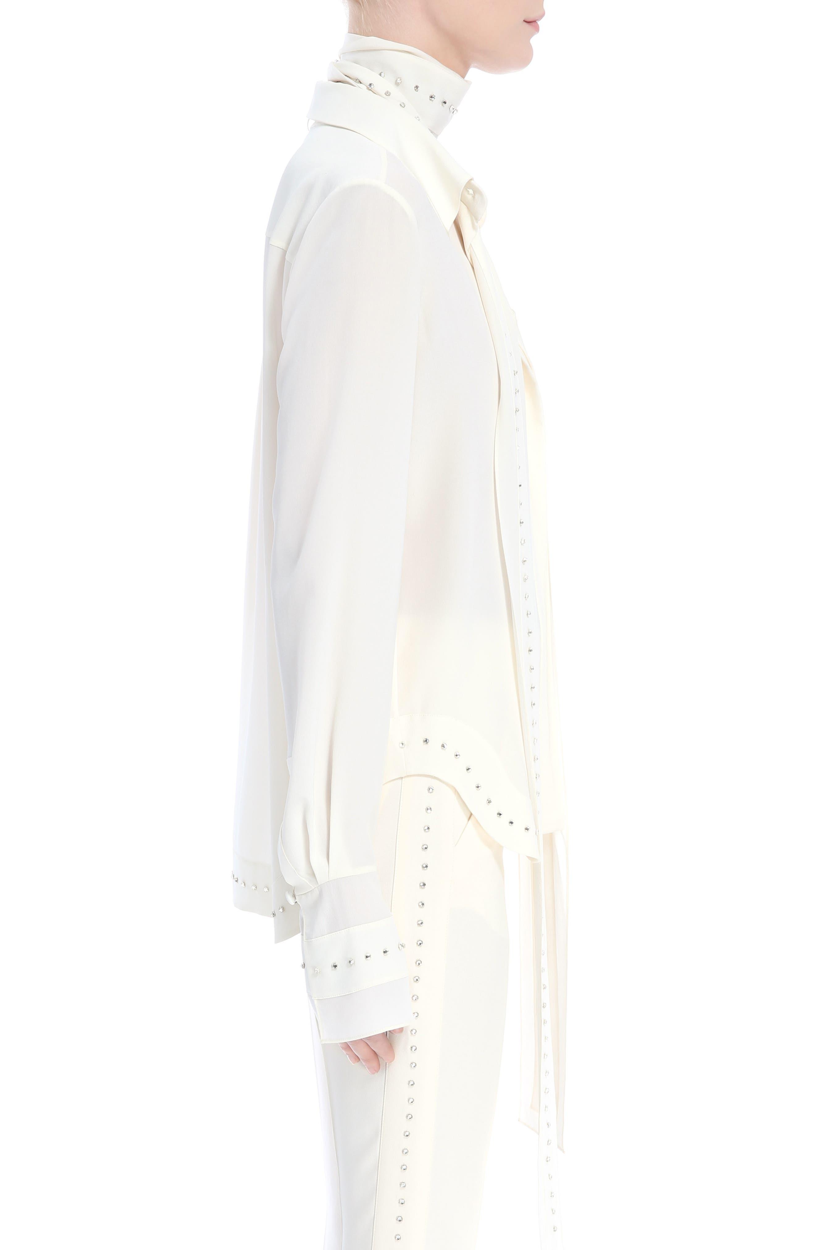 Rhinstone Trim Silk Shirt with Scarf,                             Alternate thumbnail 4, color,                             Eden White