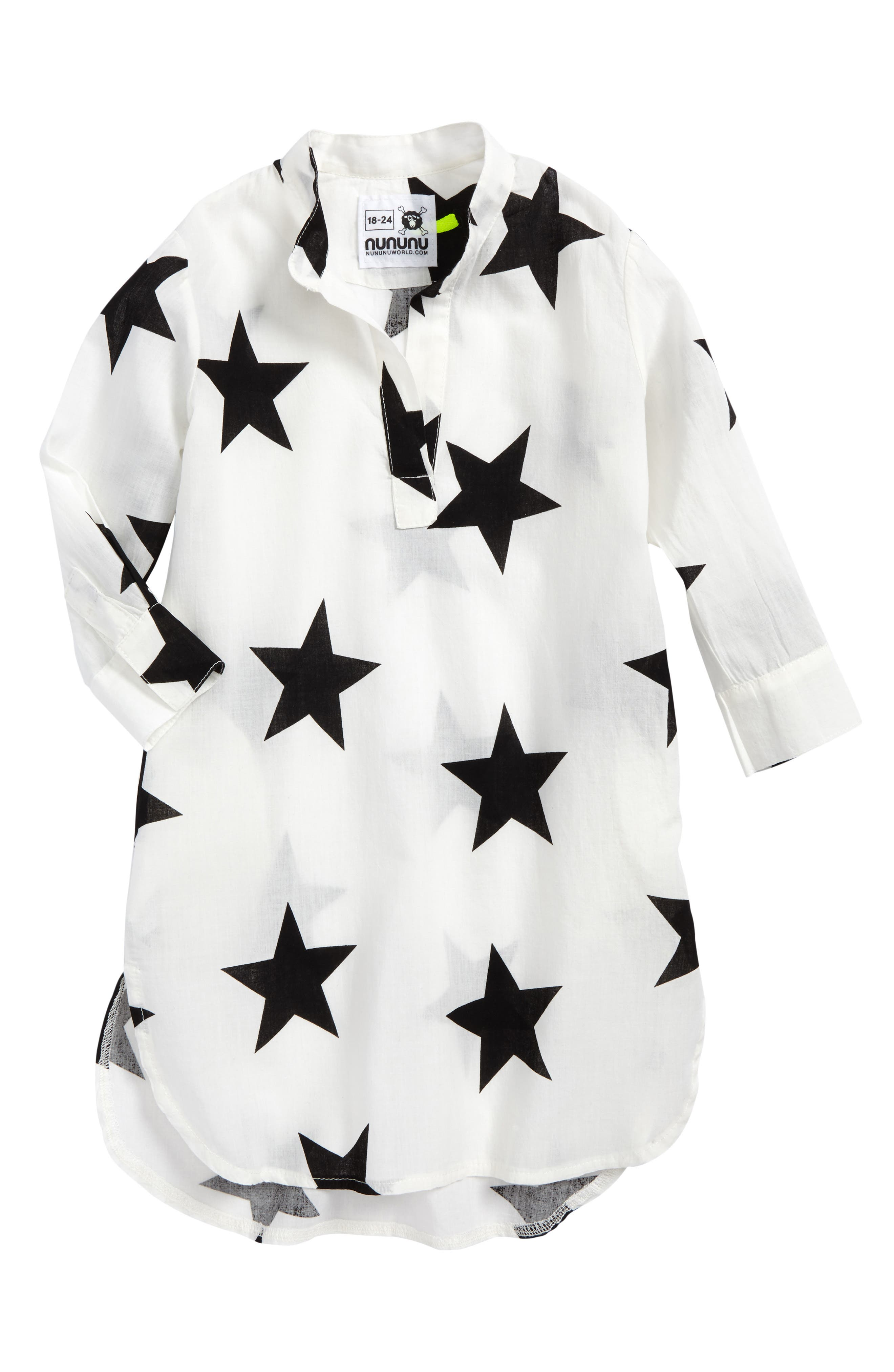 Star Print Cover-Up Caftan,                         Main,                         color, White