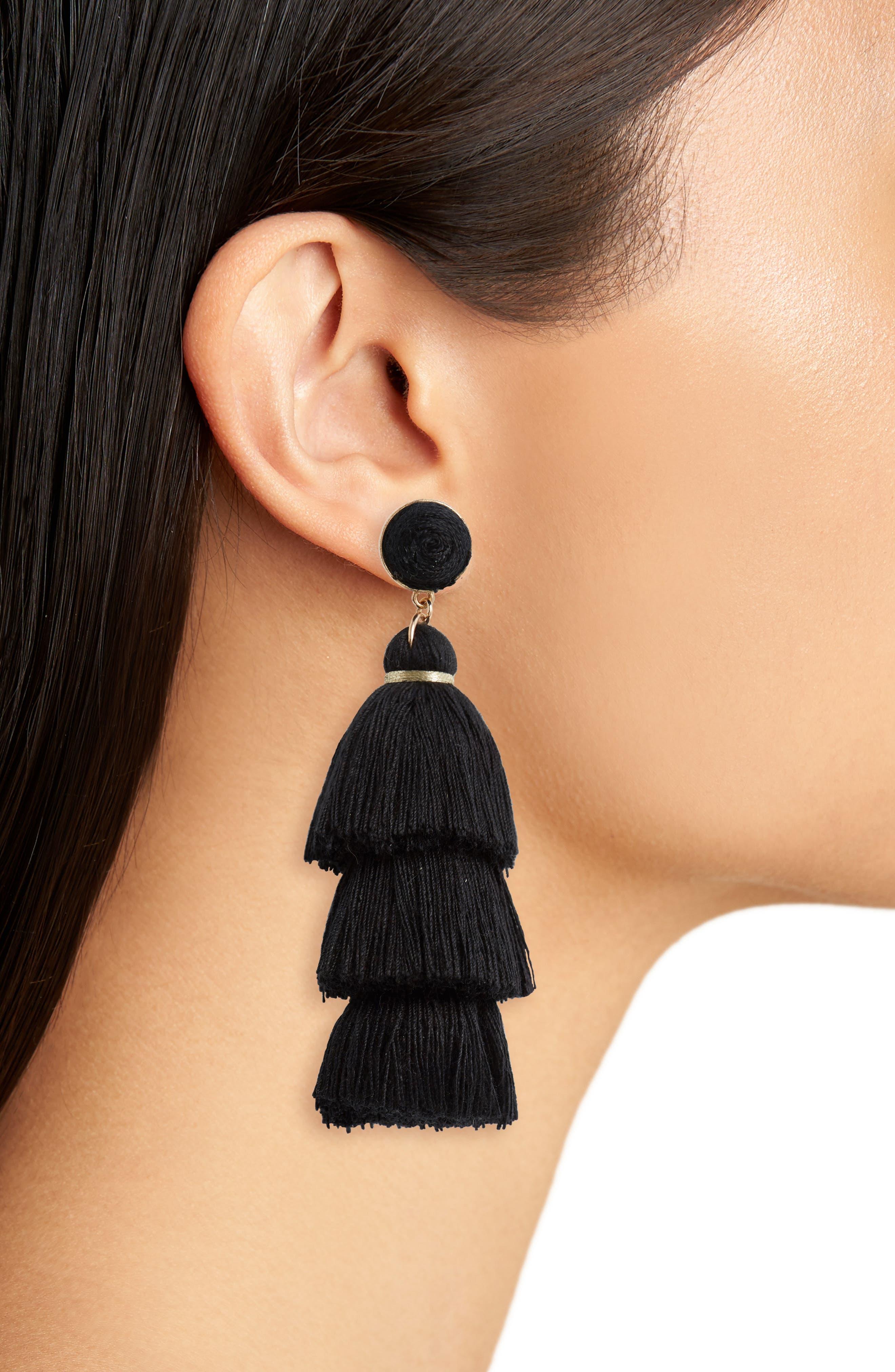 Tiered Tassel Earrings,                             Alternate thumbnail 2, color,                             Black