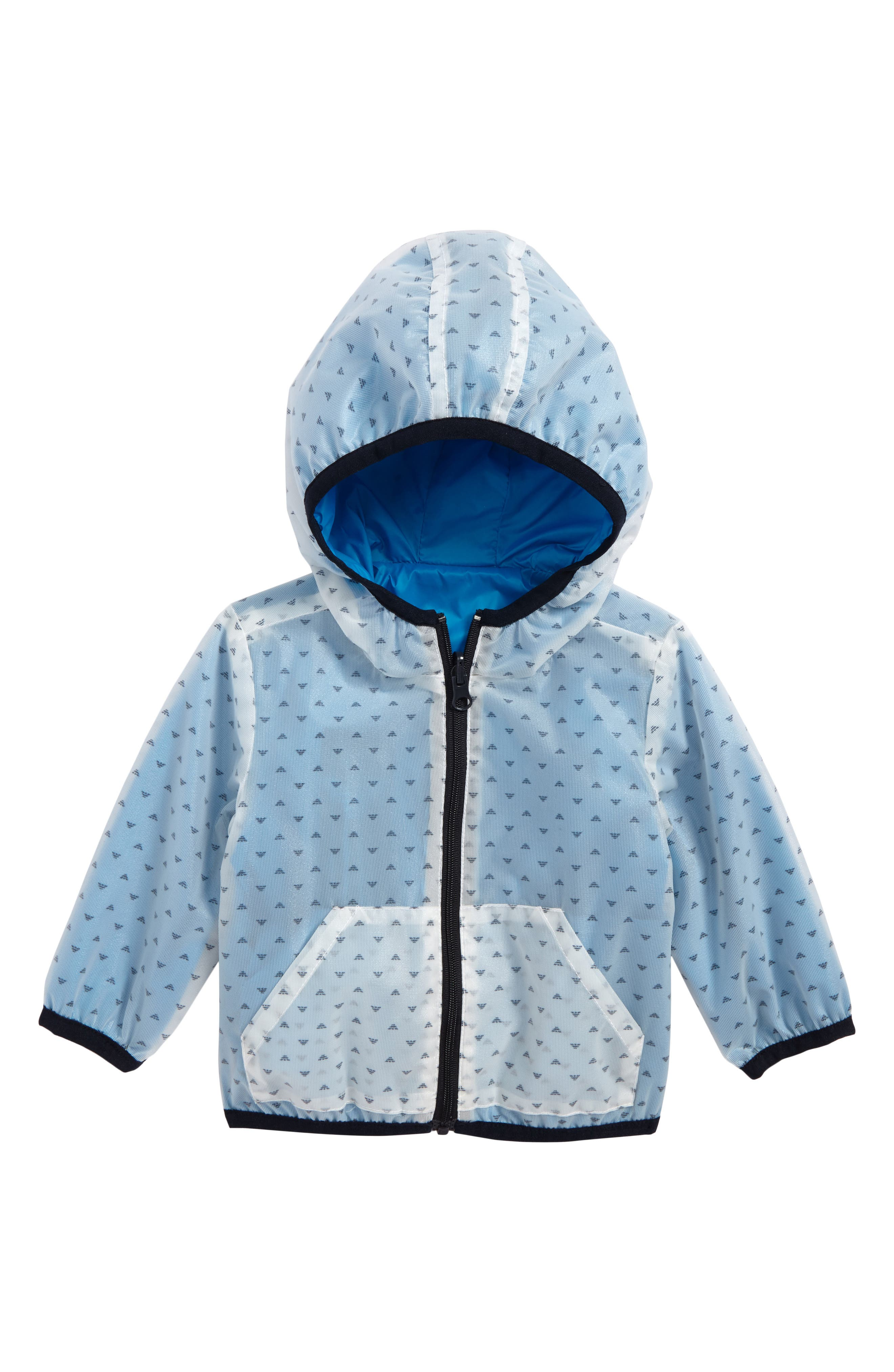 Logo Hooded Jacket,                         Main,                         color, Turquoise