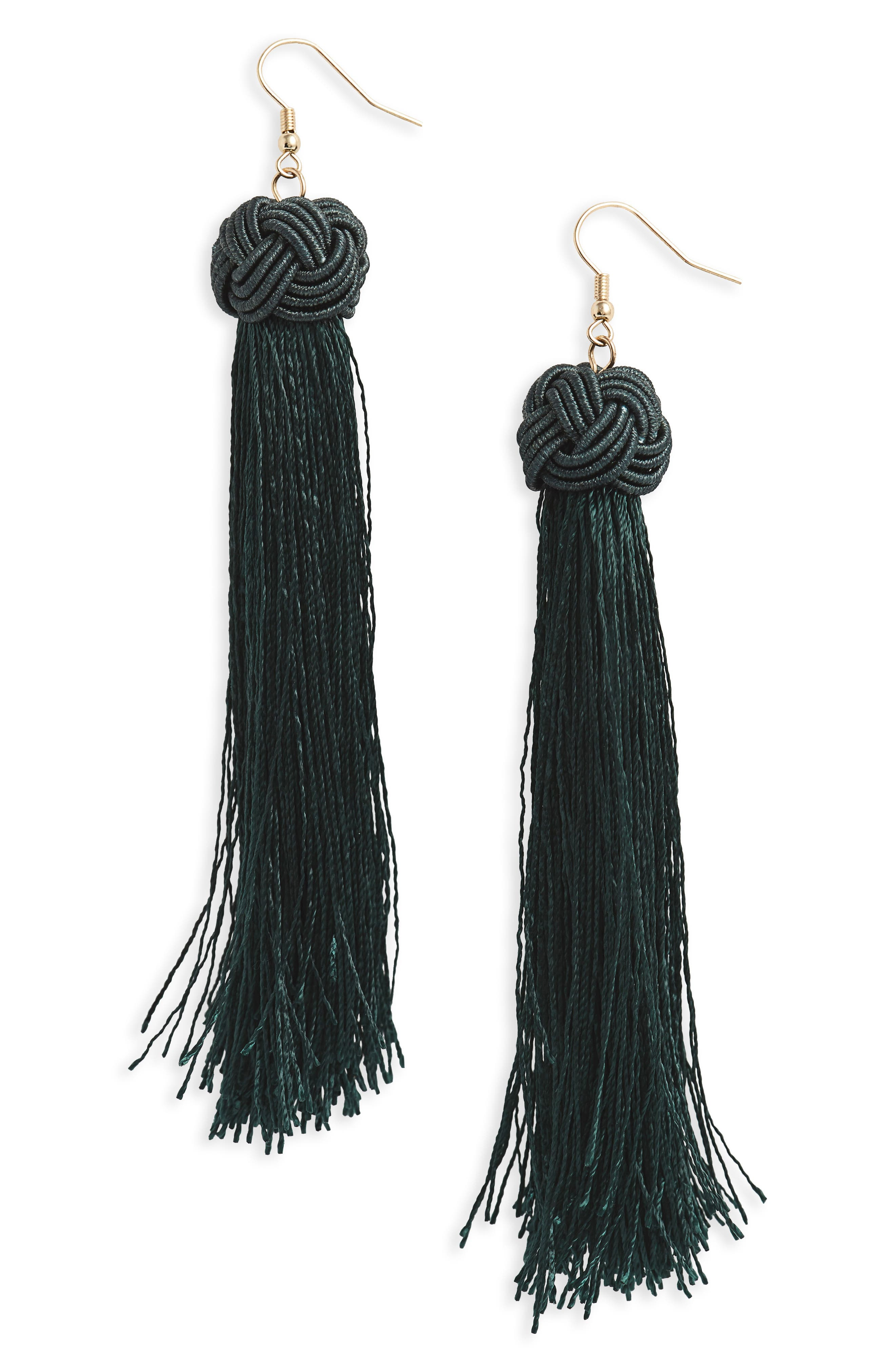 Tassel Earrings,                         Main,                         color, Emerald/ Gold