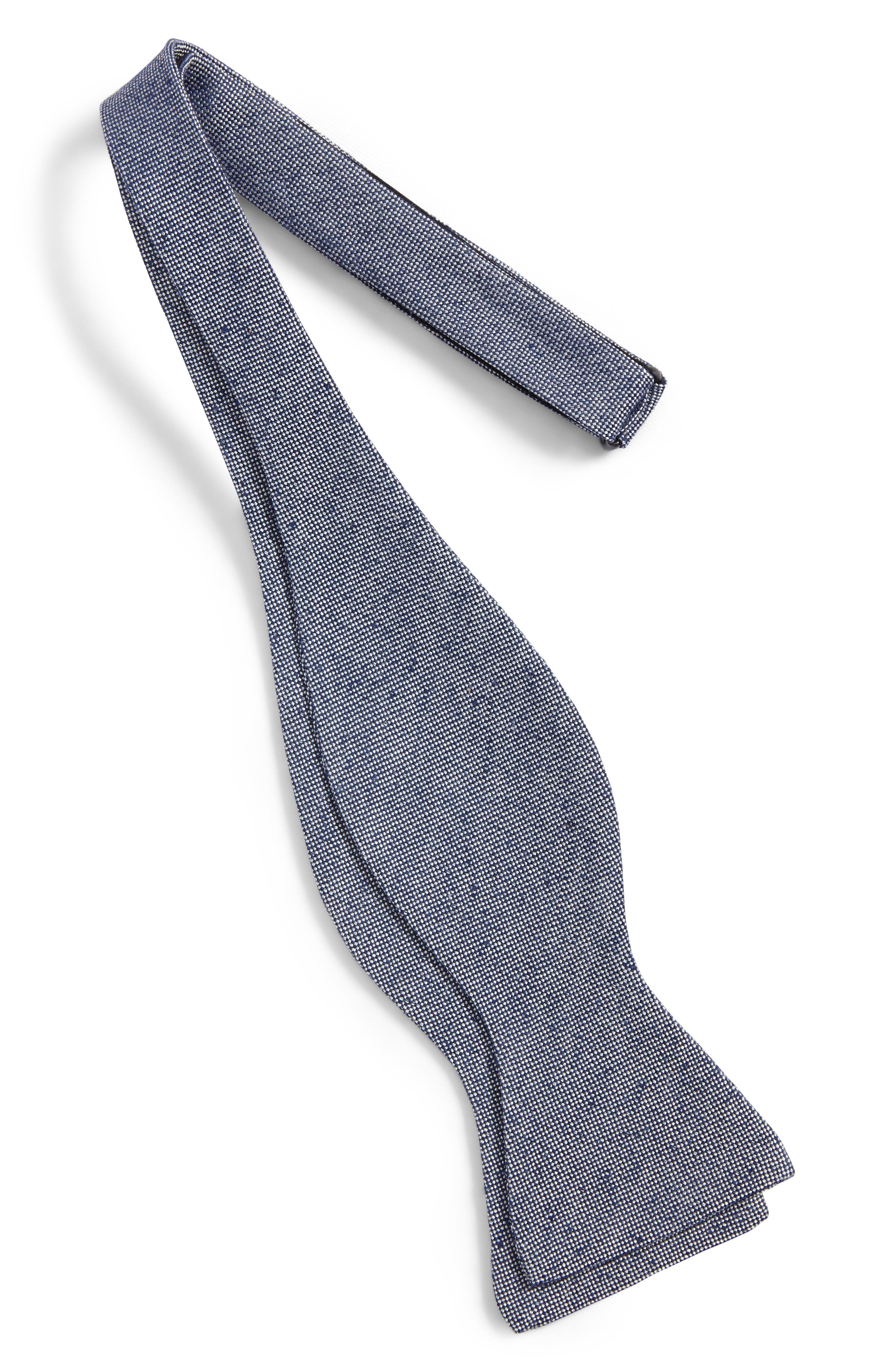 Solid Silk Bow Tie,                             Alternate thumbnail 2, color,                             Navy