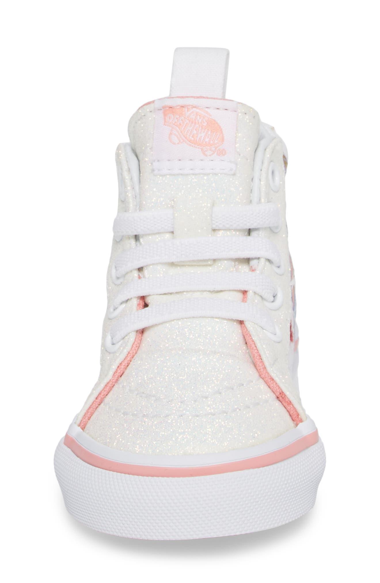 Alternate Image 4  - Vans SK8-Hi Zip Glitter Unicorn Sneaker (Baby, Walker & Toddler)