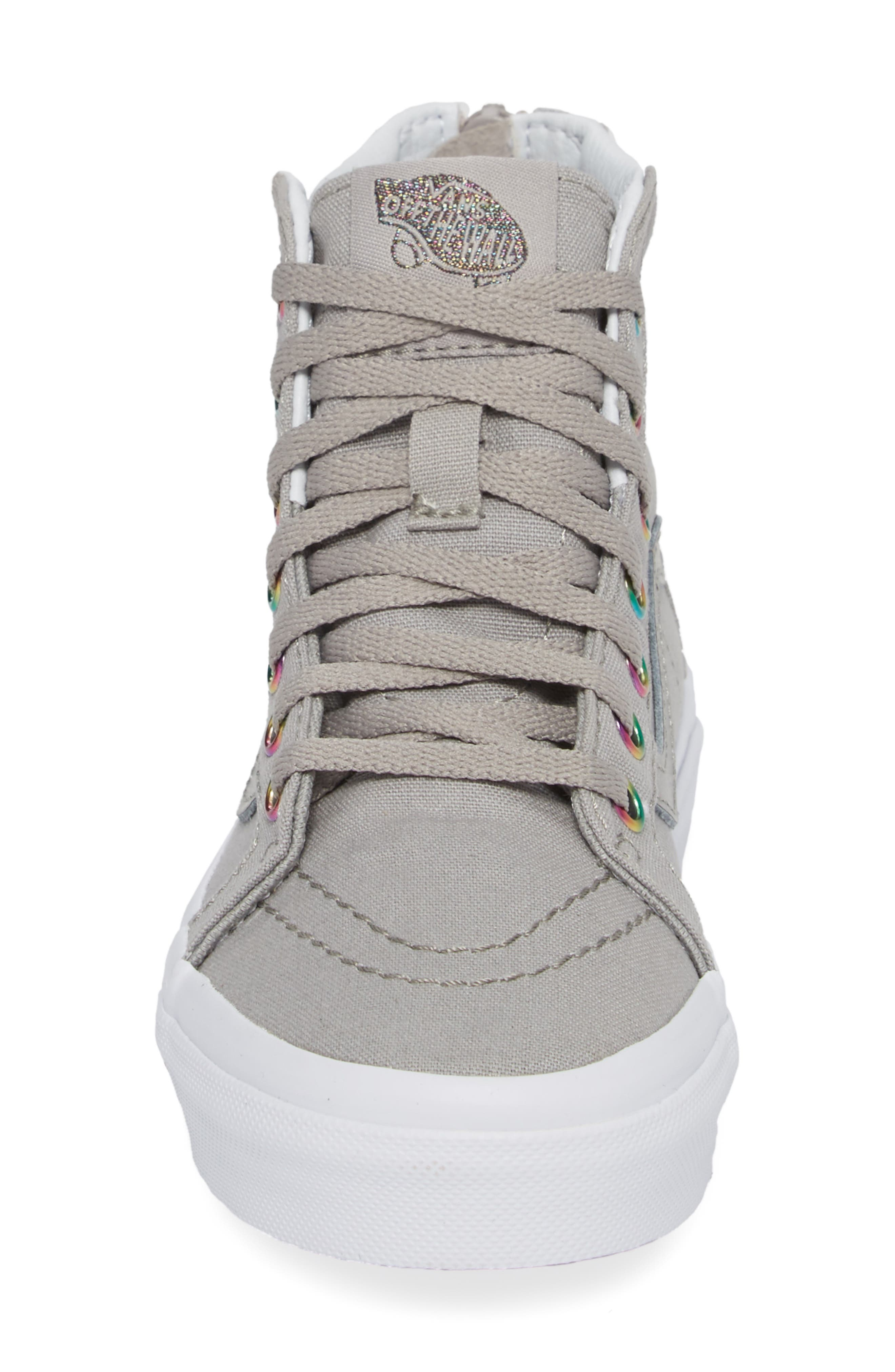 Sk8-Hi Zip High Top Sneaker,                             Alternate thumbnail 4, color,                             Rainbow Eyelet Drizzle