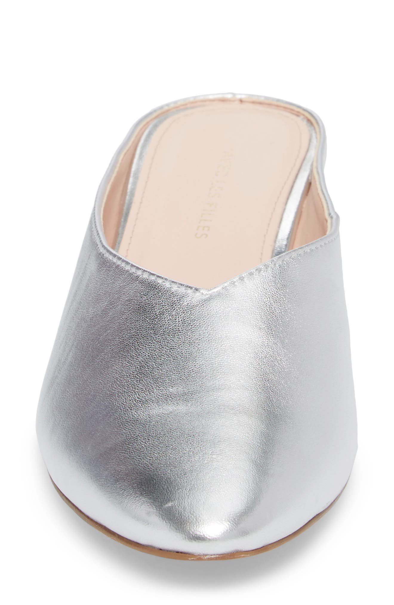Bella Pointy Toe Mule,                             Alternate thumbnail 4, color,                             Silver Leather