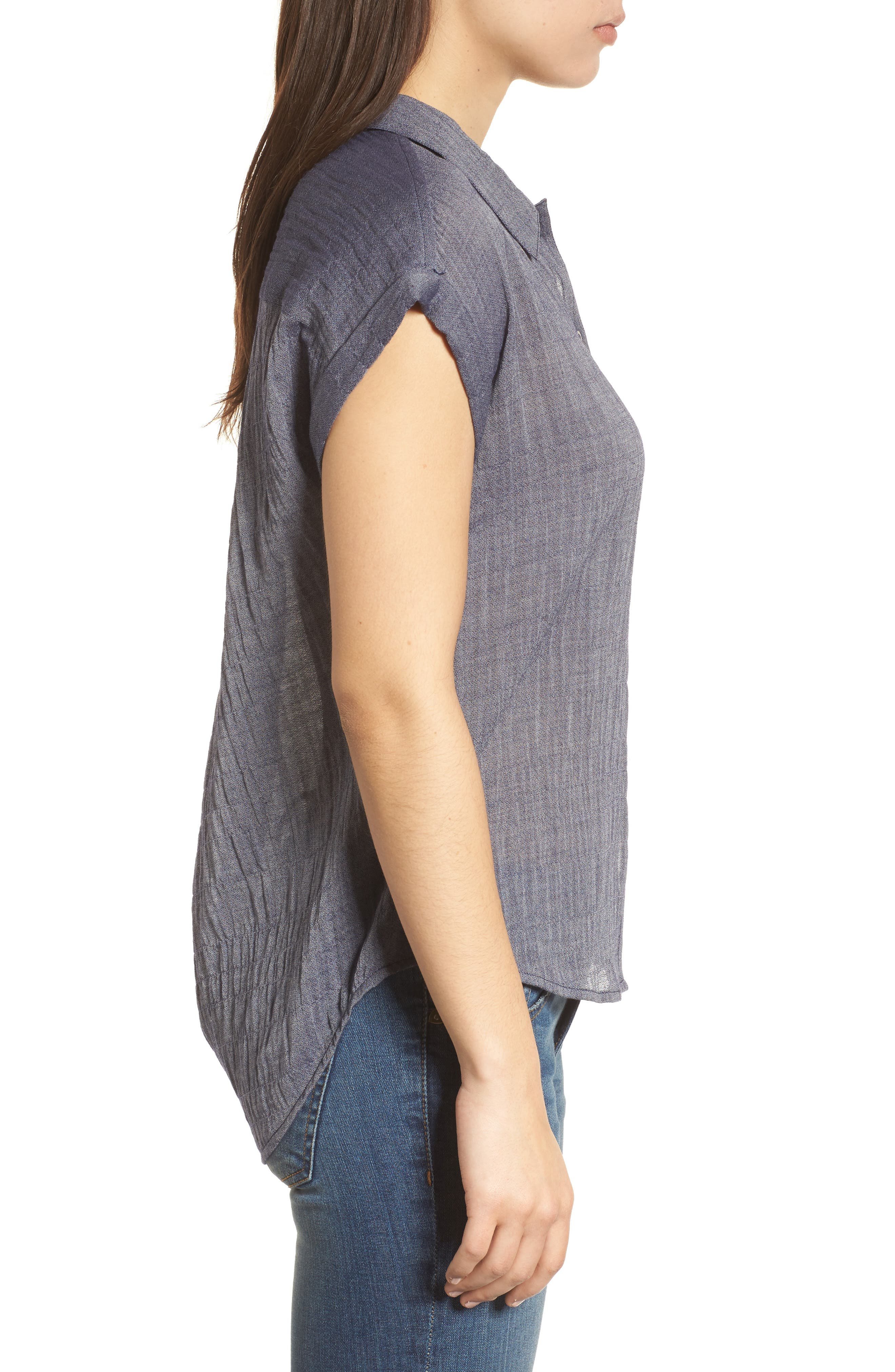 Solid Short Sleeve High/Low Top,                             Alternate thumbnail 3, color,                             Chambray