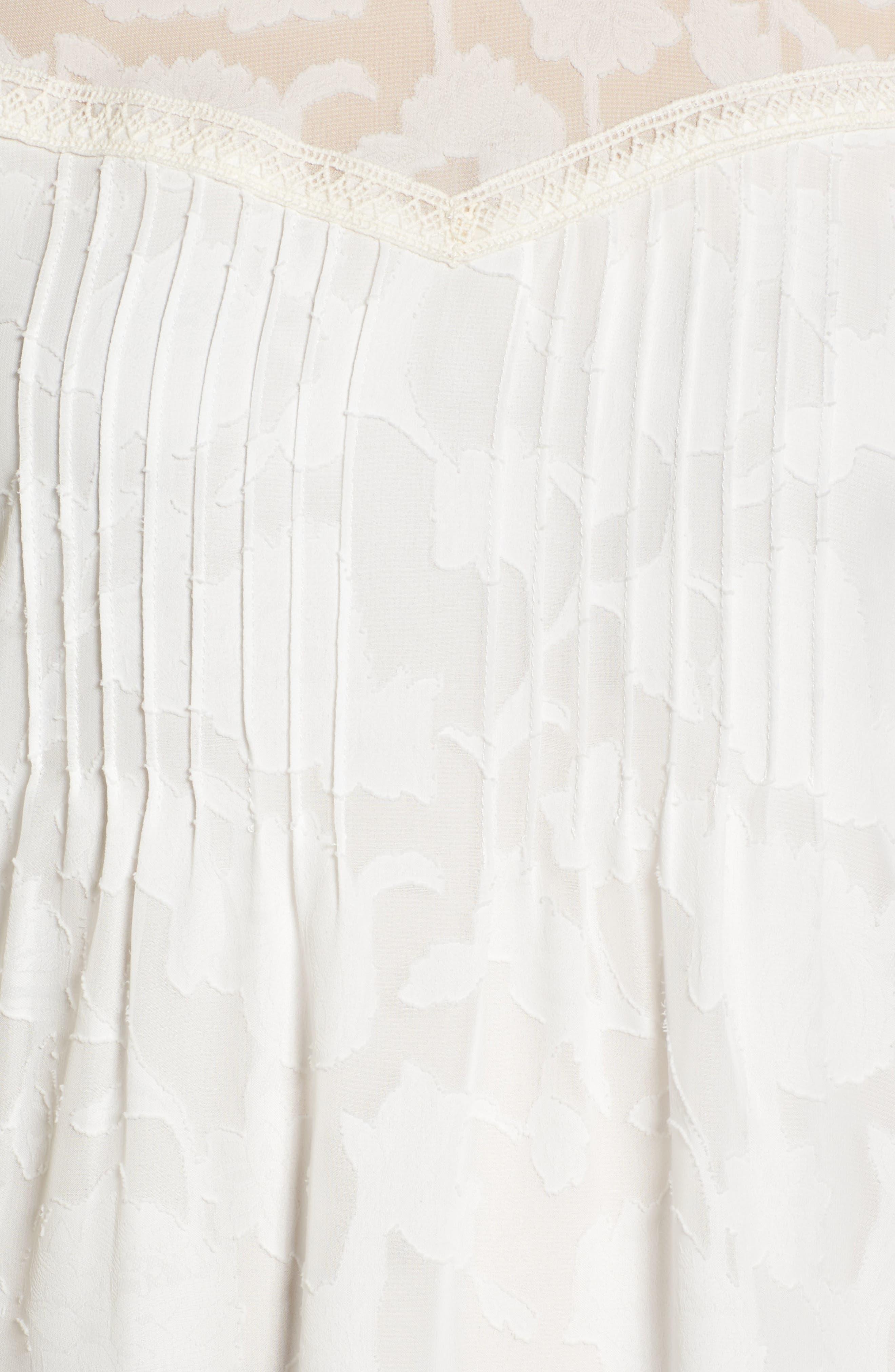 Cold Shoulder Jacquard Shirt,                             Alternate thumbnail 5, color,                             Lucky White