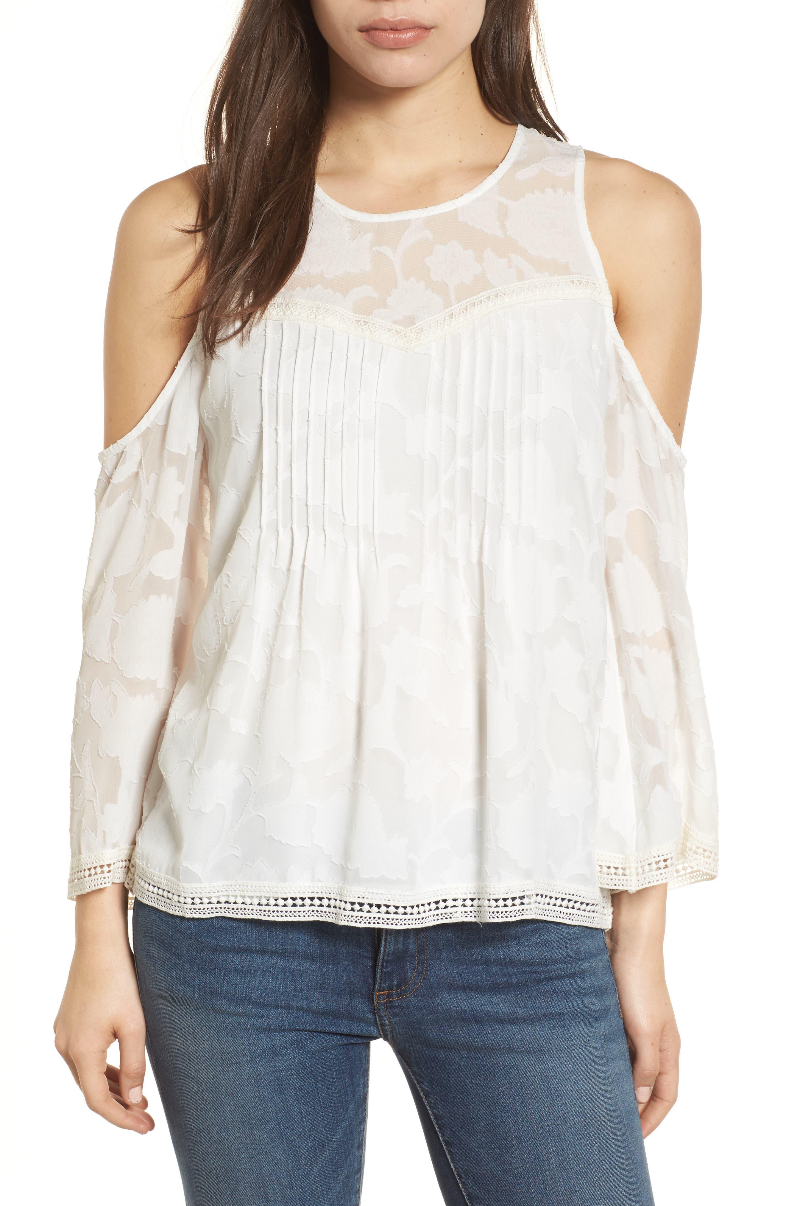 Cold Shoulder Jacquard Shirt,                             Main thumbnail 1, color,                             Lucky White