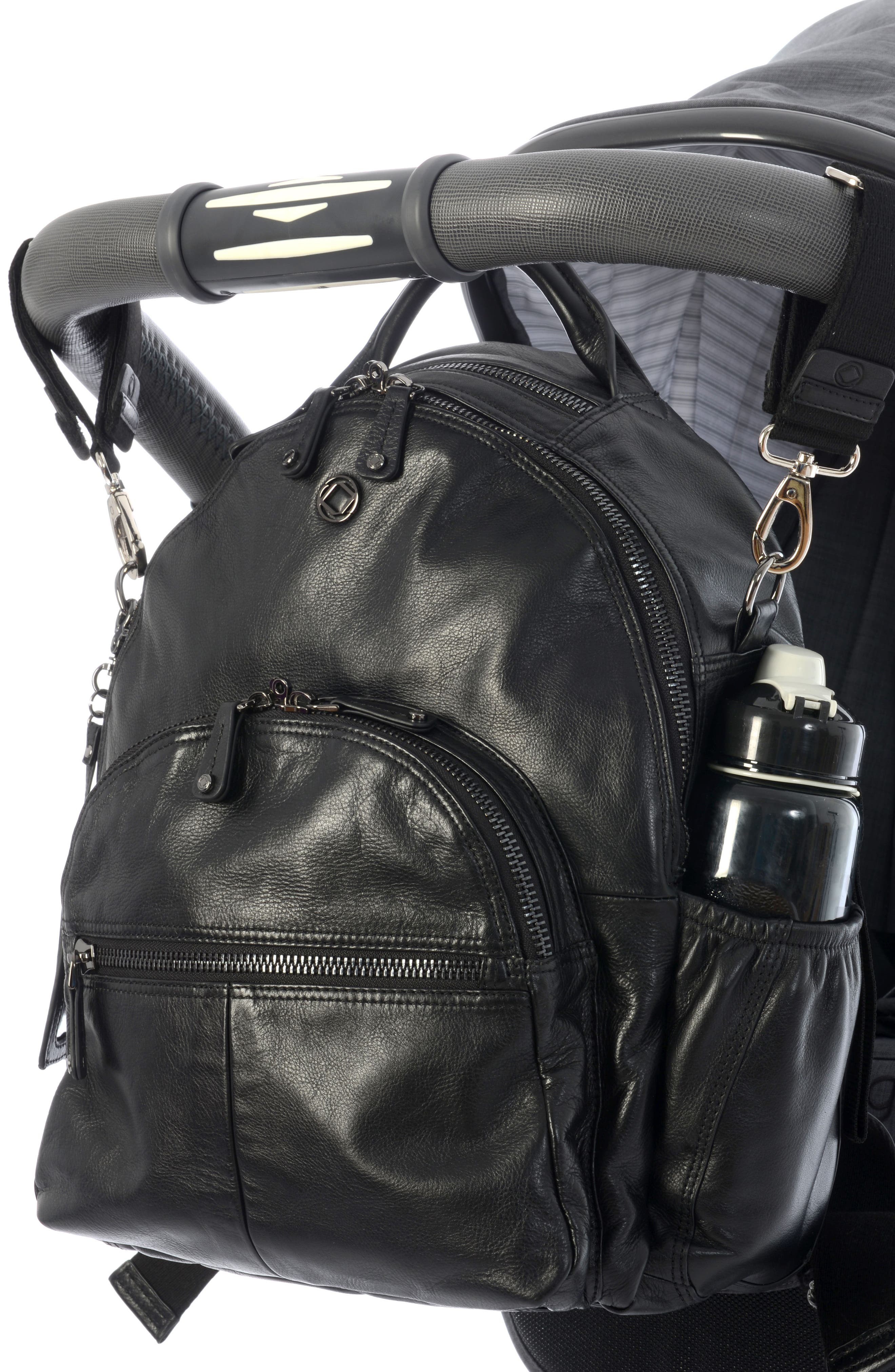 Joy XL Leather Backpack,                             Alternate thumbnail 13, color,                             Black
