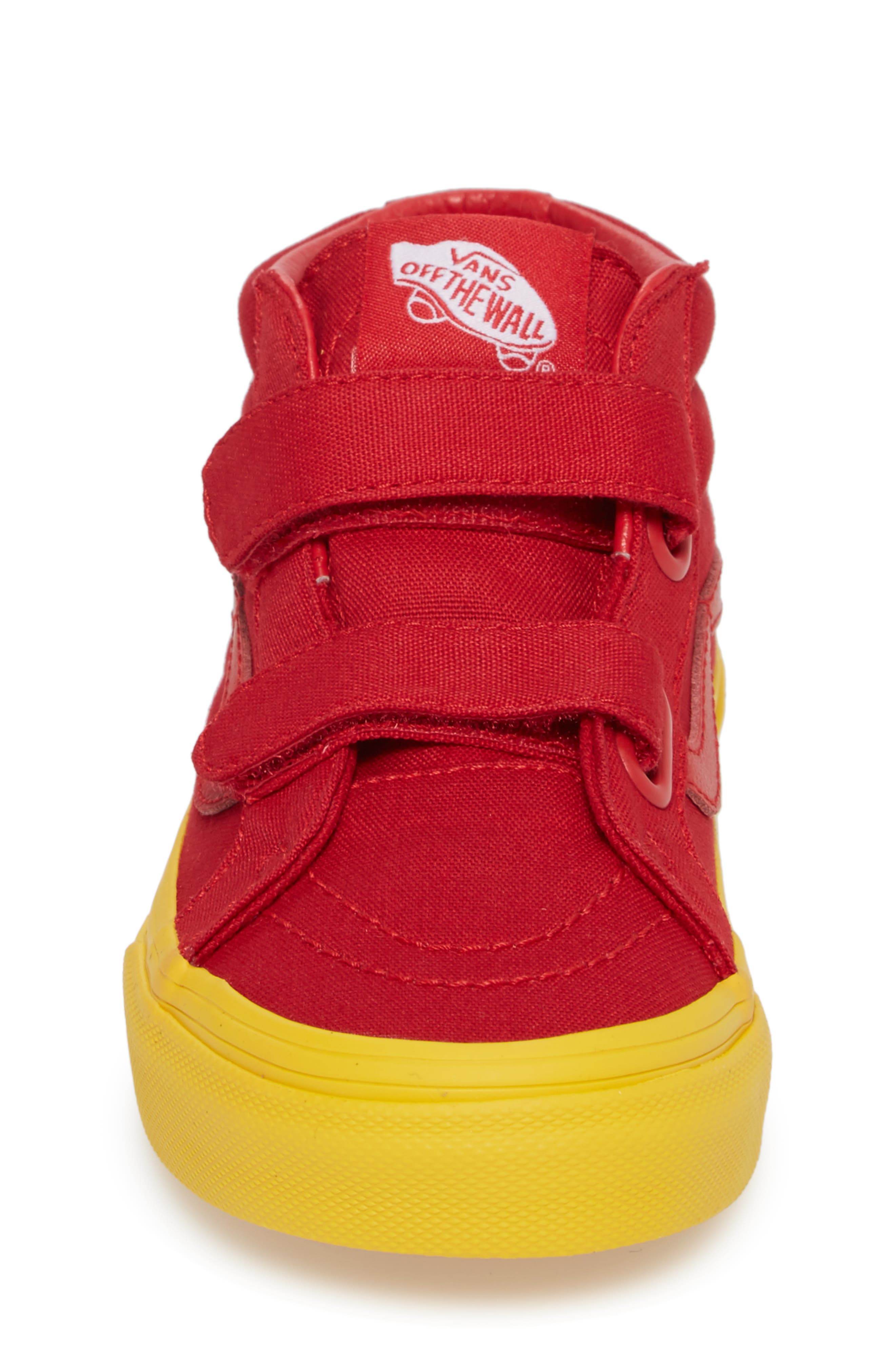 Sk8-Mid Reissue Sneaker,                             Alternate thumbnail 4, color,                             Red/ Gold Cosplay
