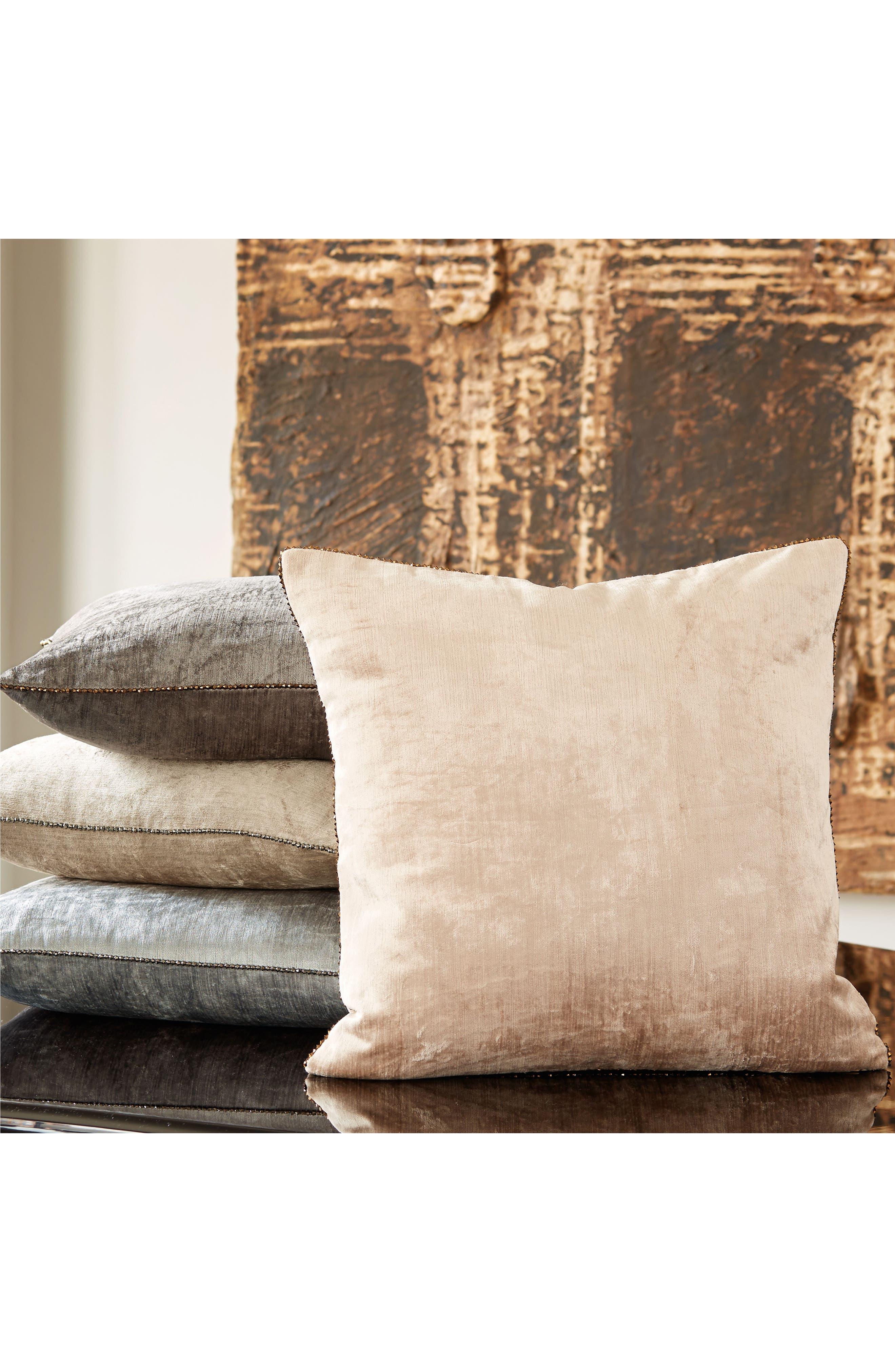 Velvet Accent Pillow,                             Alternate thumbnail 2, color,                             Grey