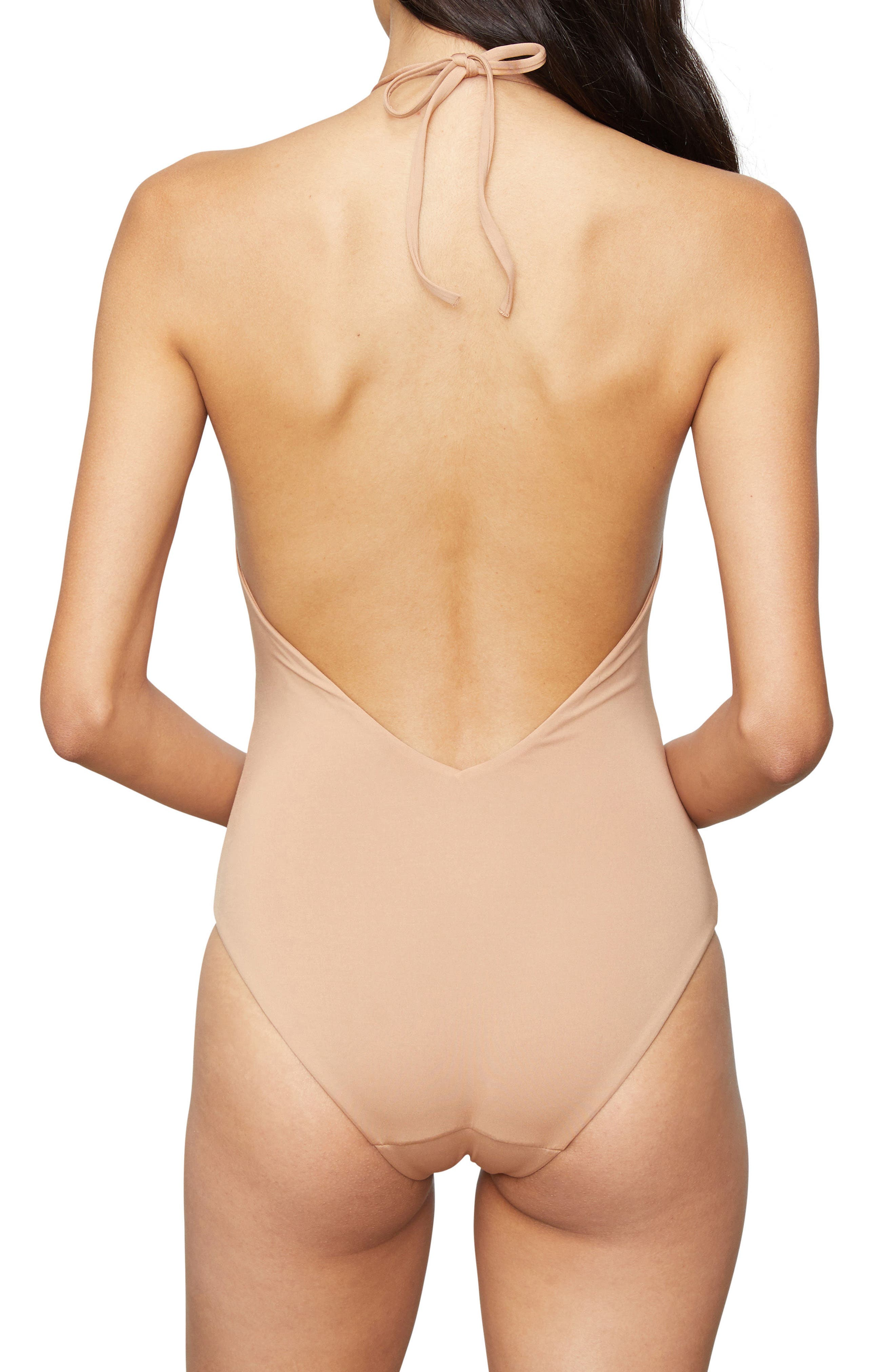 Nina One-Piece Halter Swimsuit,                             Alternate thumbnail 2, color,                             Sandy