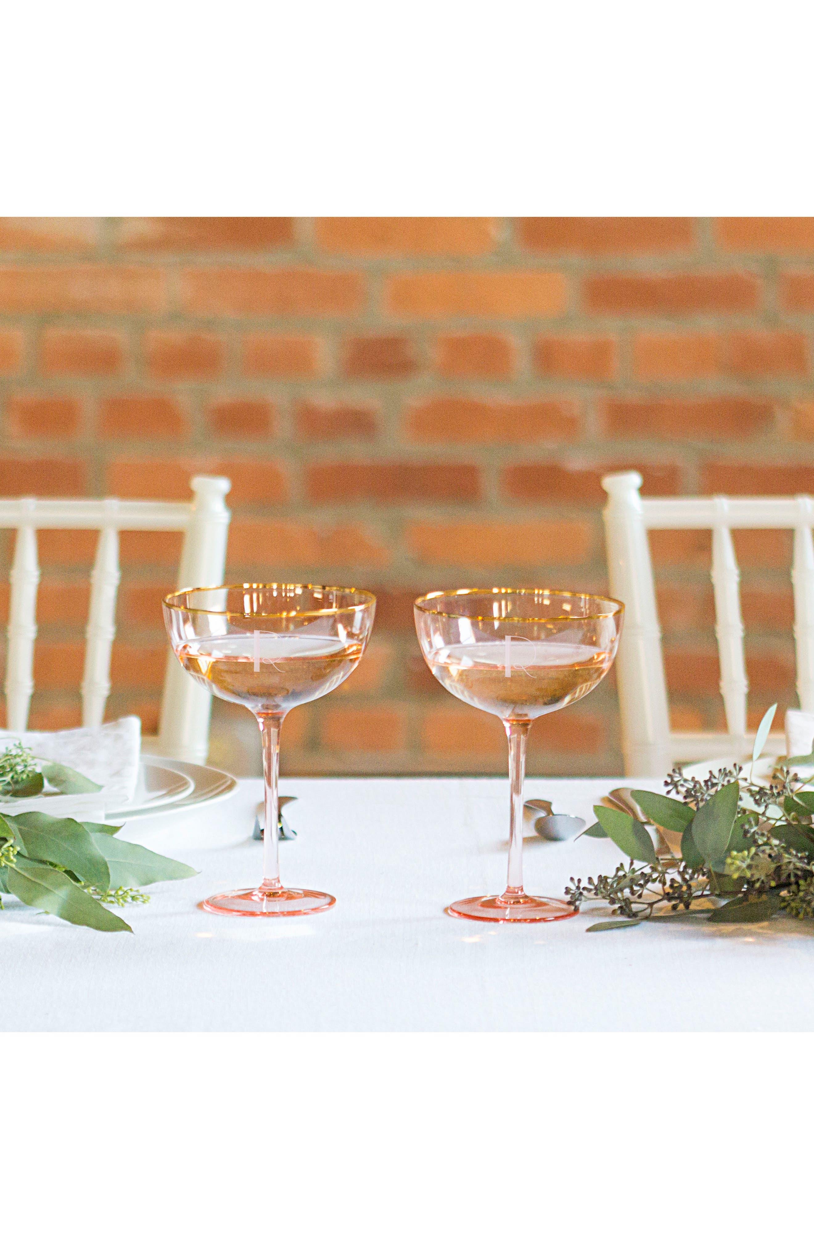 Monogram Set of 2 Champagne Coupes,                             Alternate thumbnail 2, color,                             Blush