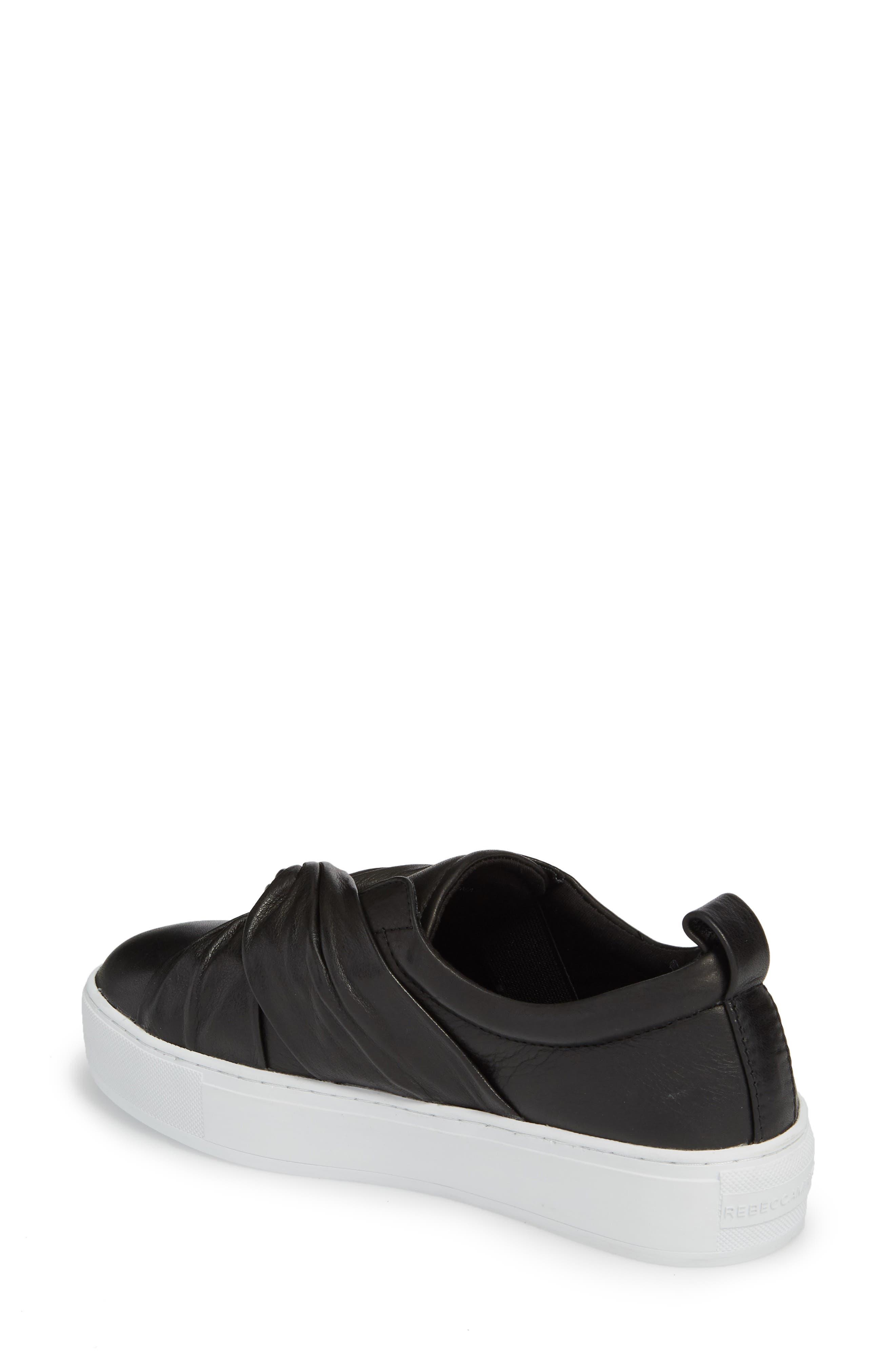 Nicole Platform Sneaker,                             Alternate thumbnail 2, color,                             Black Leather