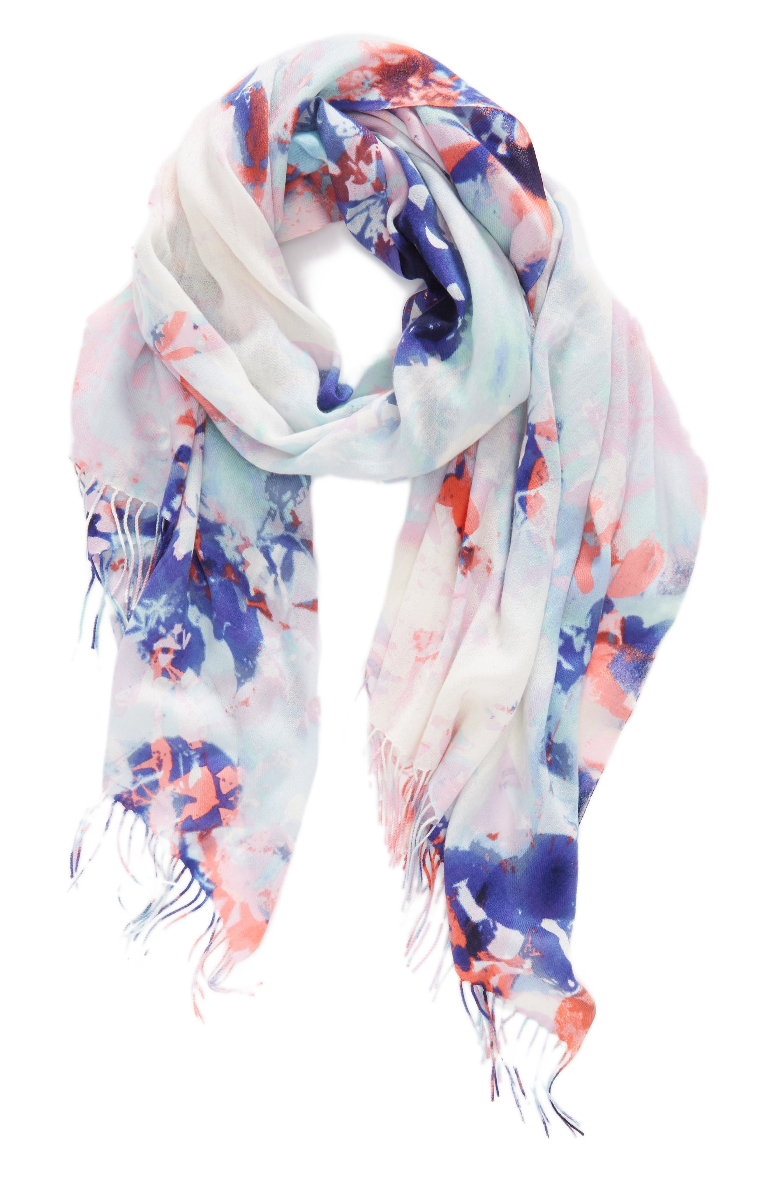 Tissue Print Wool & Cashmere Wrap Scarf,                             Alternate thumbnail 2, color,                             Blue Hidden Floral