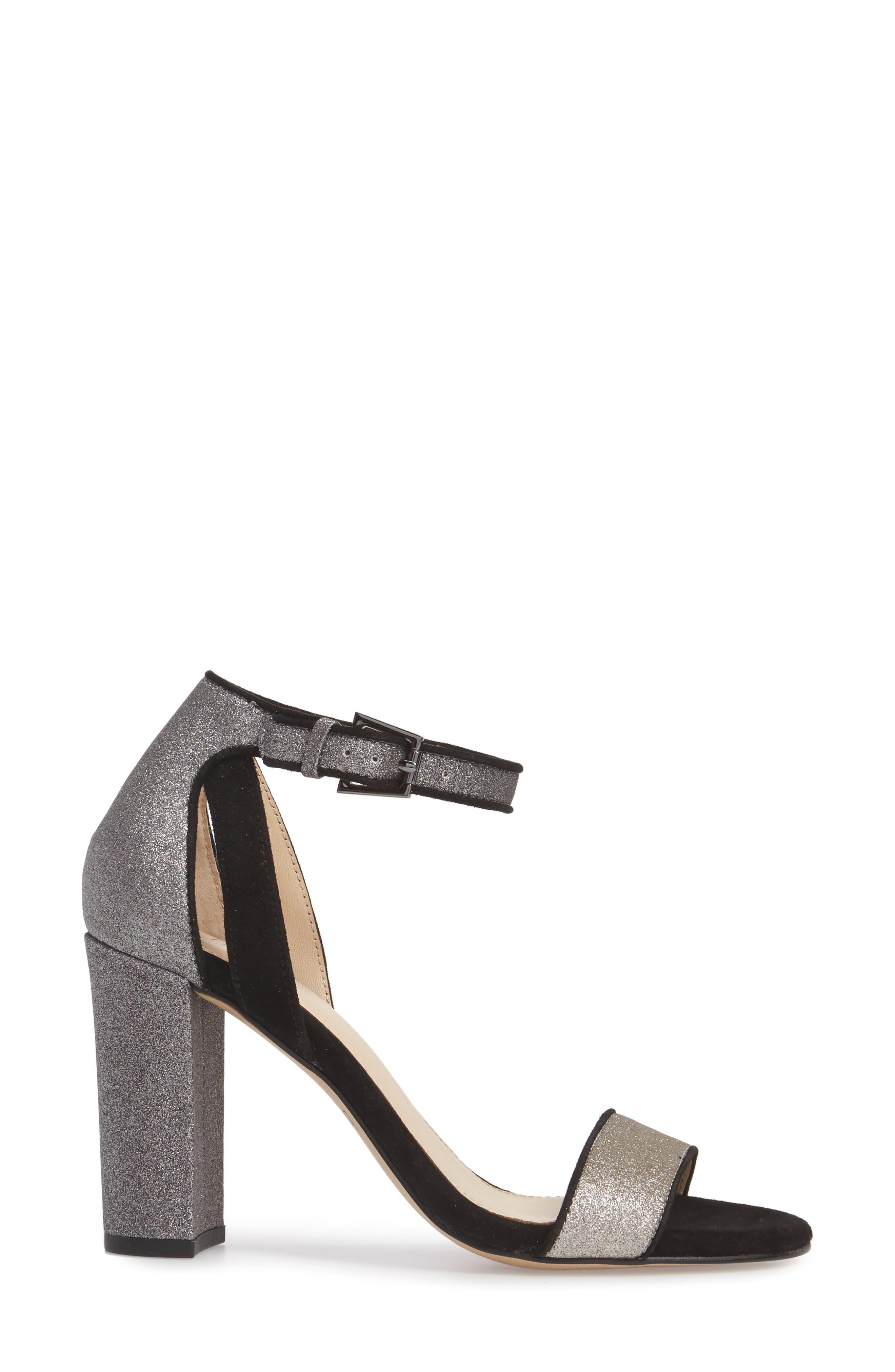Gianna Ankle Strap Sandal,                             Alternate thumbnail 3, color,                             Gunmetal Glitter